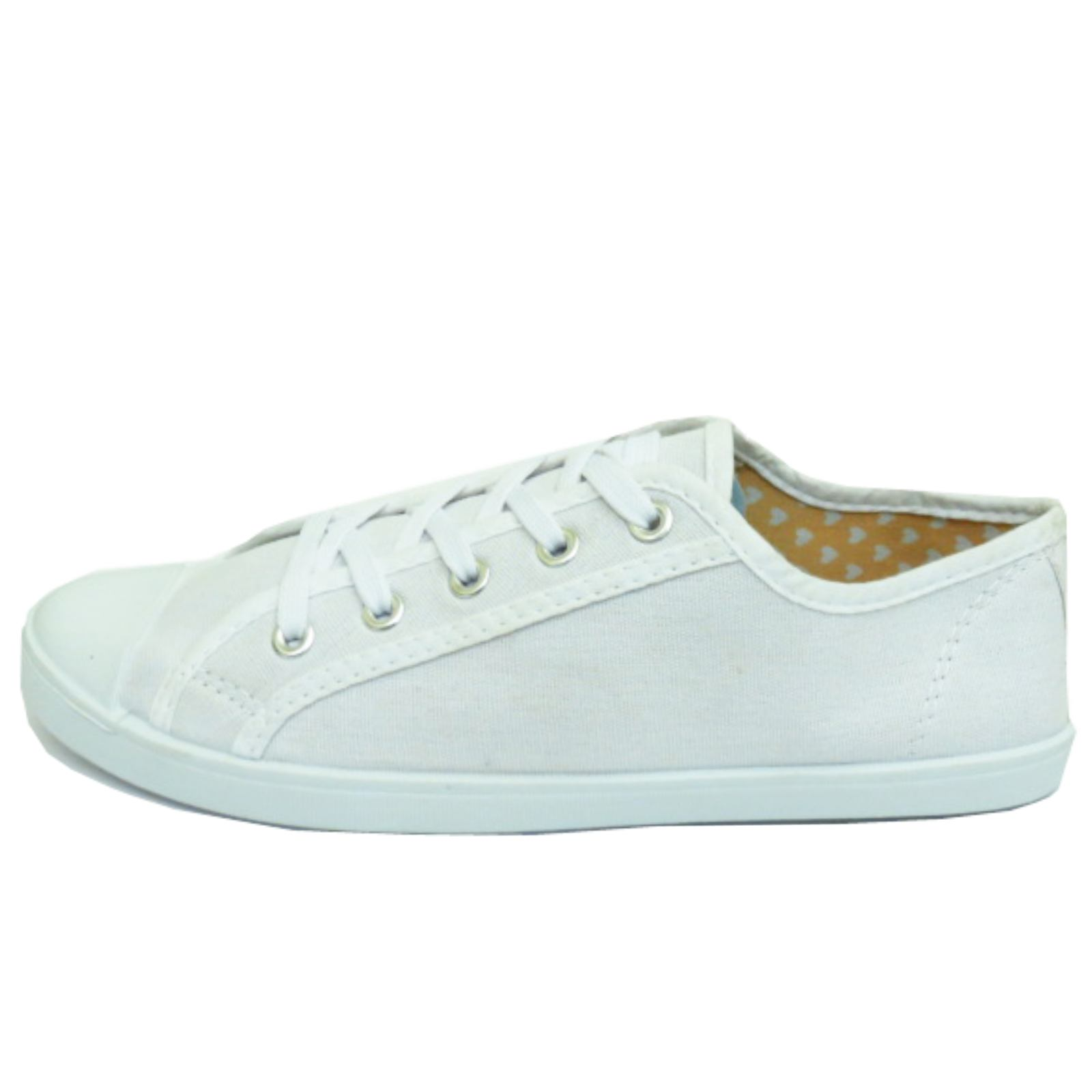 LADIES-WHITE-CANVAS-FLAT-LACE-UP-TRAINER-PLIMSOLL-PUMPS-CASUAL-SHOES-SIZES-3-9 thumbnail 6