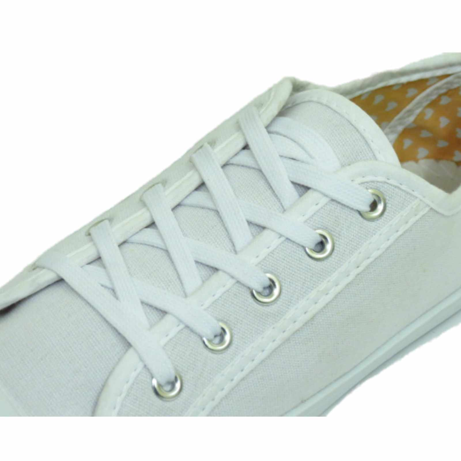 LADIES-WHITE-CANVAS-FLAT-LACE-UP-TRAINER-PLIMSOLL-PUMPS-CASUAL-SHOES-SIZES-3-9 thumbnail 8