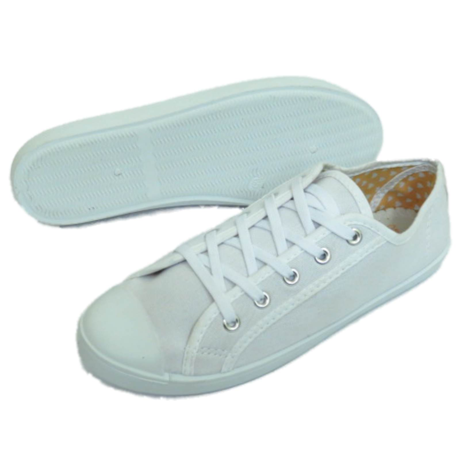 LADIES-WHITE-CANVAS-FLAT-LACE-UP-TRAINER-PLIMSOLL-PUMPS-CASUAL-SHOES-SIZES-3-9 thumbnail 7
