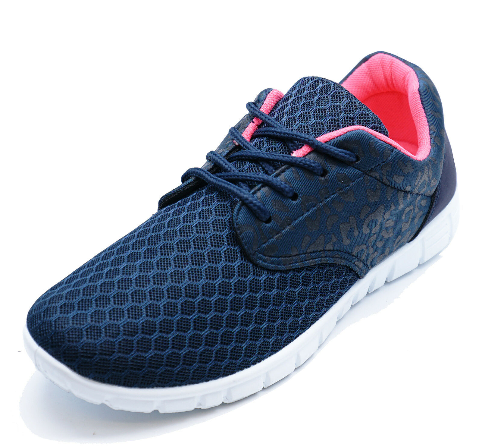 Womens Ladies Girls Navy Blue Pink Sports Gym Running Trainers Shoes Size 3-8