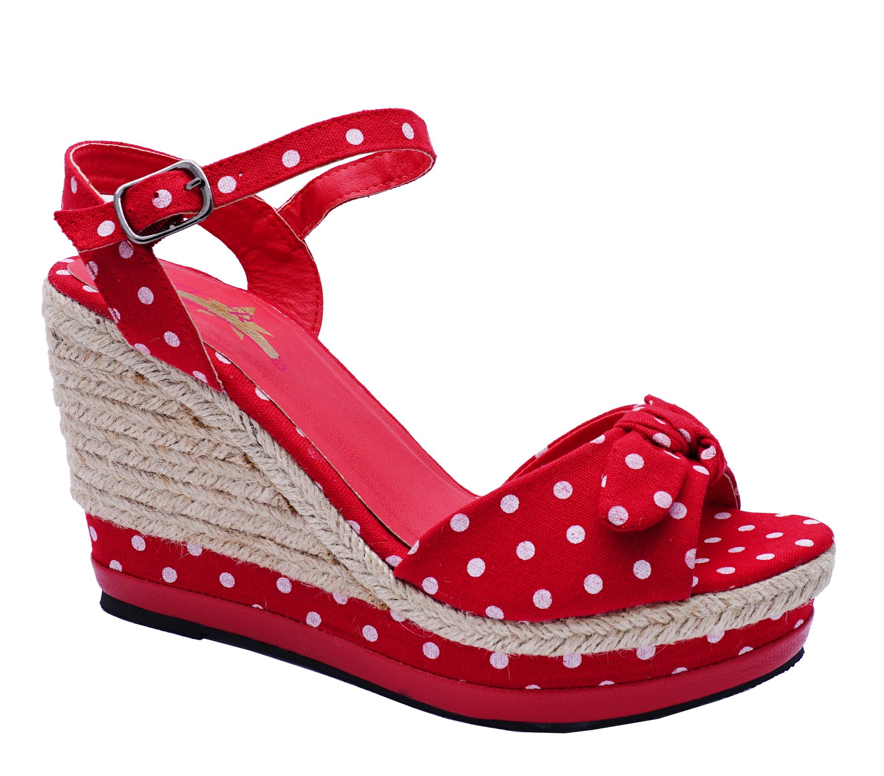 LADIES-RED-POLKA-DOT-ROCKABILLY-OPEN-TOE-COMFY-WEDGES-SANDALS-SHOES-SIZES-3-8 thumbnail 7