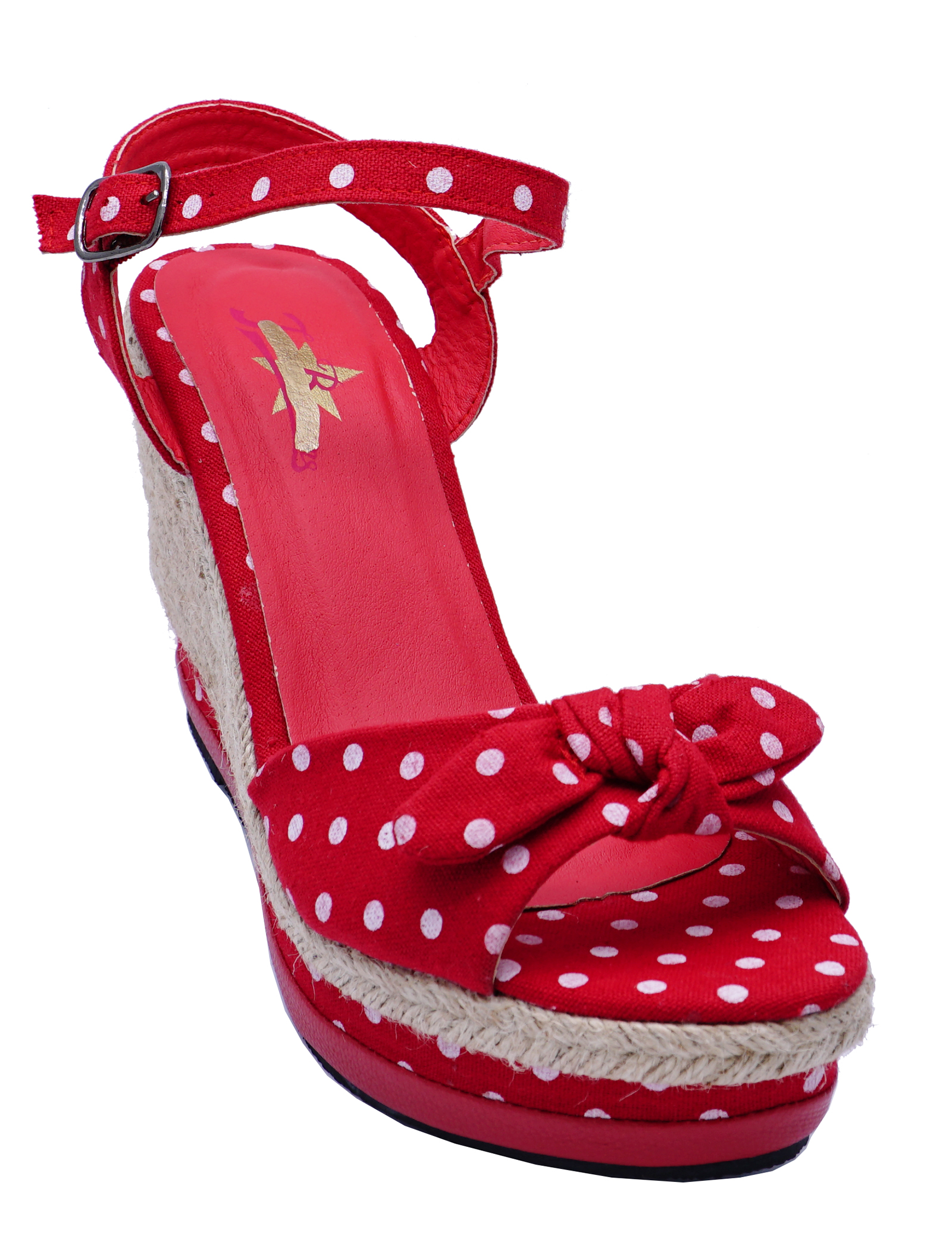 LADIES-RED-POLKA-DOT-ROCKABILLY-OPEN-TOE-COMFY-WEDGES-SANDALS-SHOES-SIZES-3-8 thumbnail 8