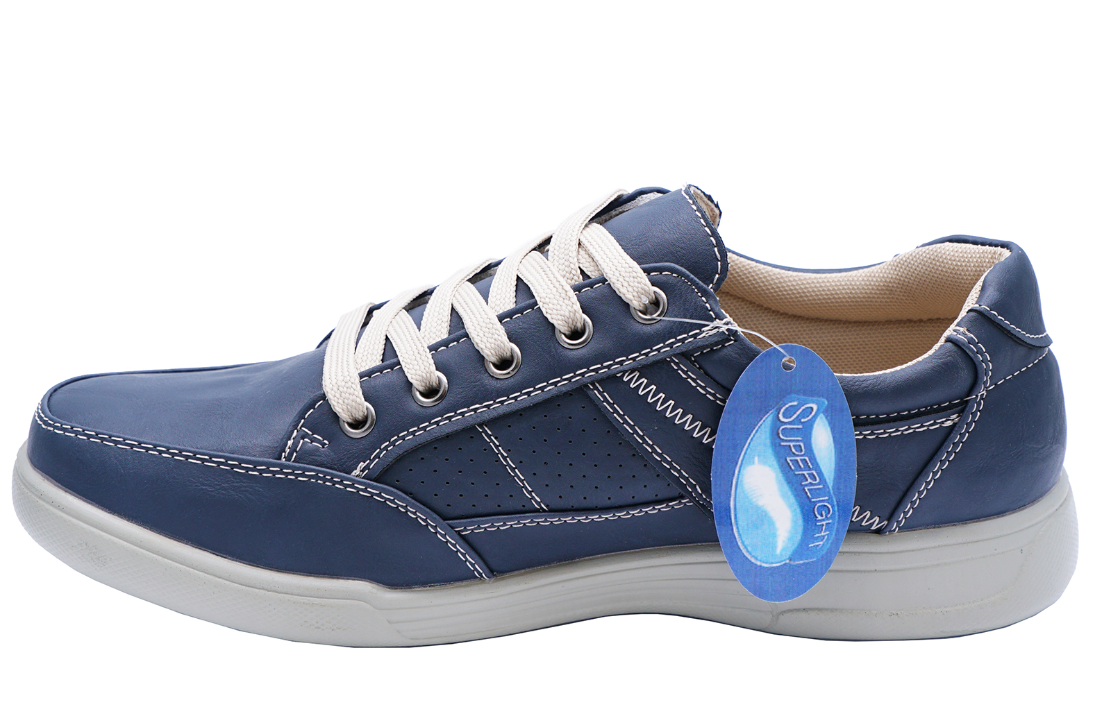 MENS-NAVY-LACE-UP-COMFY-LIGHTWEIGHT-SMART-CASUAL-WALKING-TRAINER-SHOES-UK-6-10 thumbnail 5