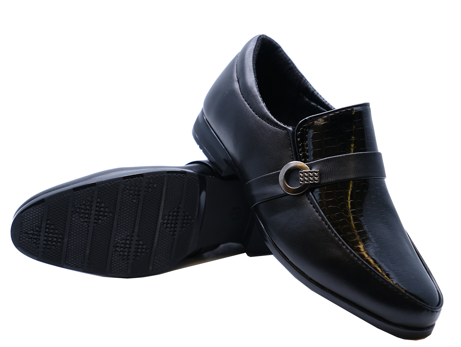 BOYS-KIDS-JUNIOR-BLACK-SCHOOL-SLIP-ON-SMART-WEDDING-LOAFERS-SHOES-SIZES-8-6 thumbnail 8