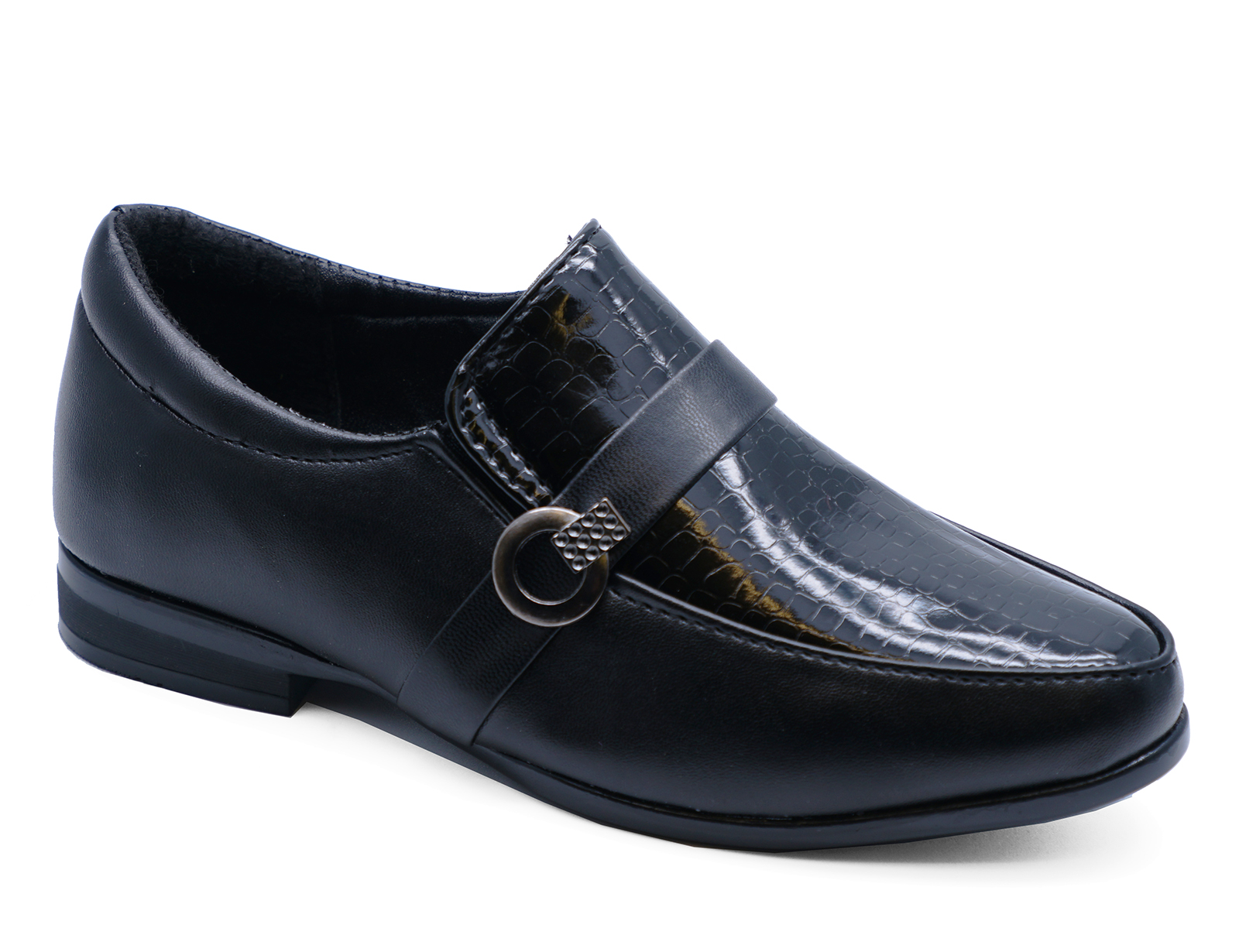 BOYS-KIDS-JUNIOR-BLACK-SCHOOL-SLIP-ON-SMART-WEDDING-LOAFERS-SHOES-SIZES-8-6 thumbnail 6