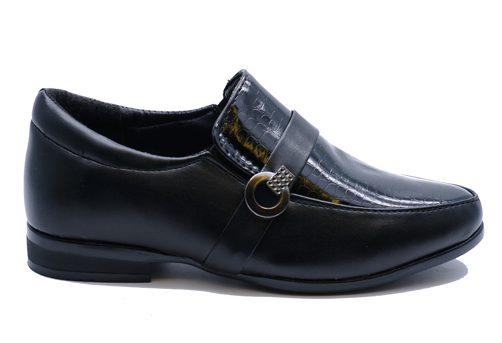 BOYS-KIDS-JUNIOR-BLACK-SCHOOL-SLIP-ON-SMART-WEDDING-LOAFERS-SHOES-SIZES-8-6 thumbnail 7