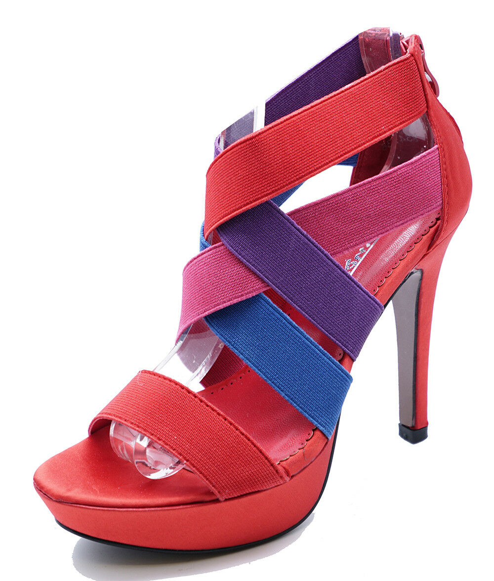 red strappy shoes uk
