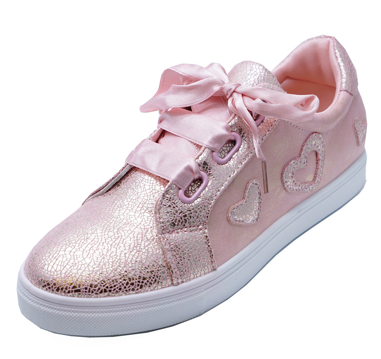 LADIES PINK LACE-UP RIBBON FLAT COMFY SKATE TRAINERS PLIMSOLL PUMPS SHOES UK 3-8