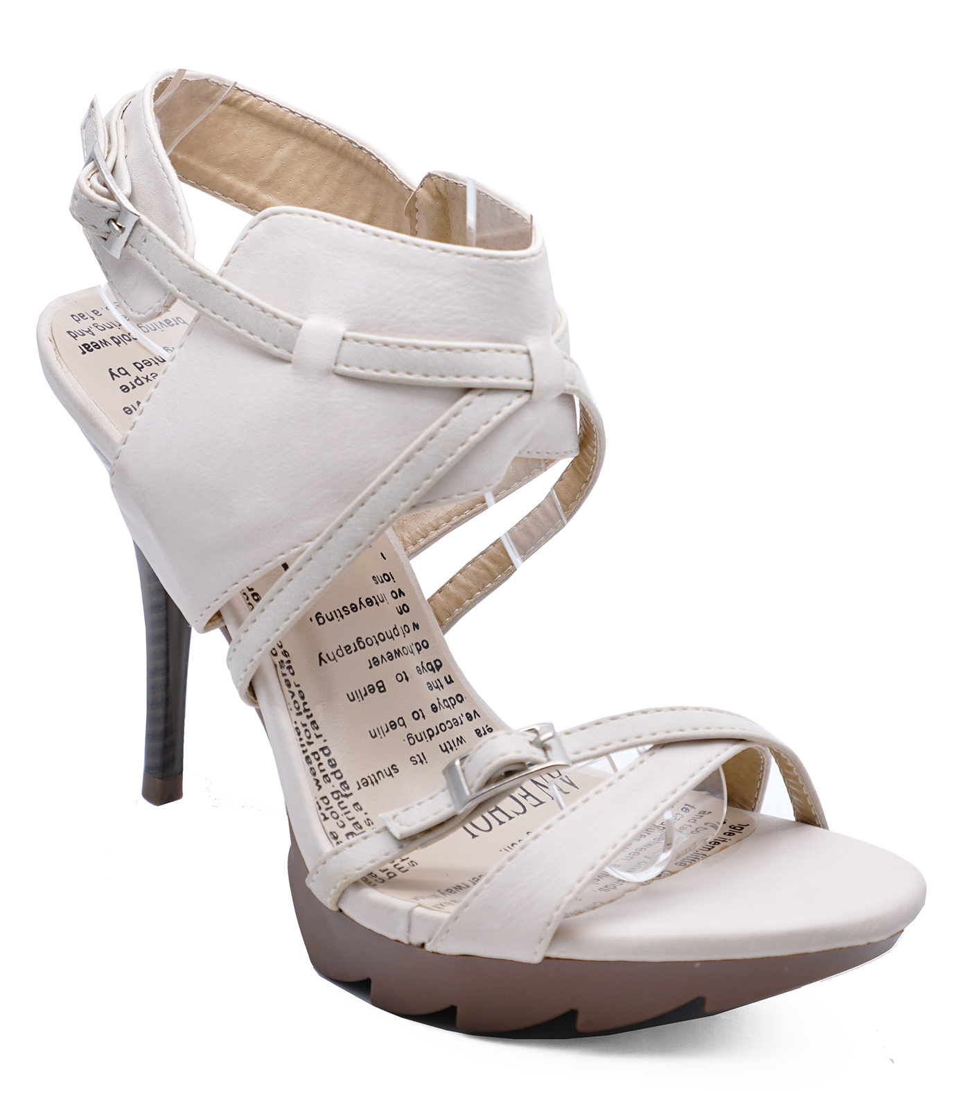 originales mayor selección de 2019 venta reino unido Detalles de Damas Beige Stiletto con tiras Sandalias Gladiador Brazalete De  Tobillo Tacones Zapatos Tallas 2-8- ver título original