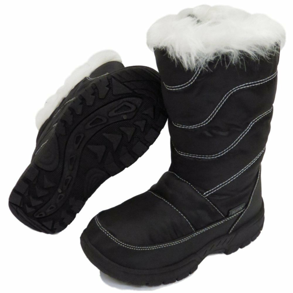 GIRLS BOYS KIDS CHILDRENS BLACK GREY WINTER WARM FUR SNOW RAIN SKI BOOTS UK 10-2