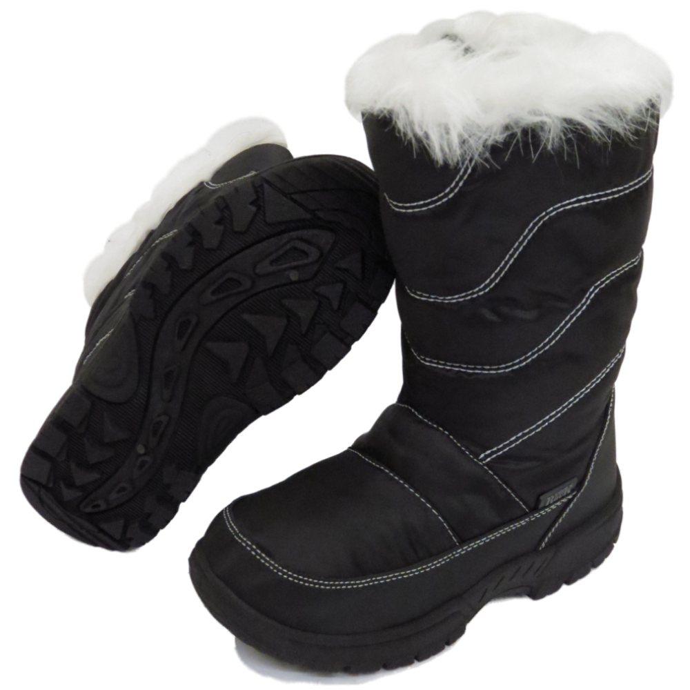 GIRLS-KIDS-BLACK-WINTER-WARM-FUR-ZIP-ICE-SNOW-RAIN-SKI-THERMAL-BOOTS-SIZES-10-2 thumbnail 8