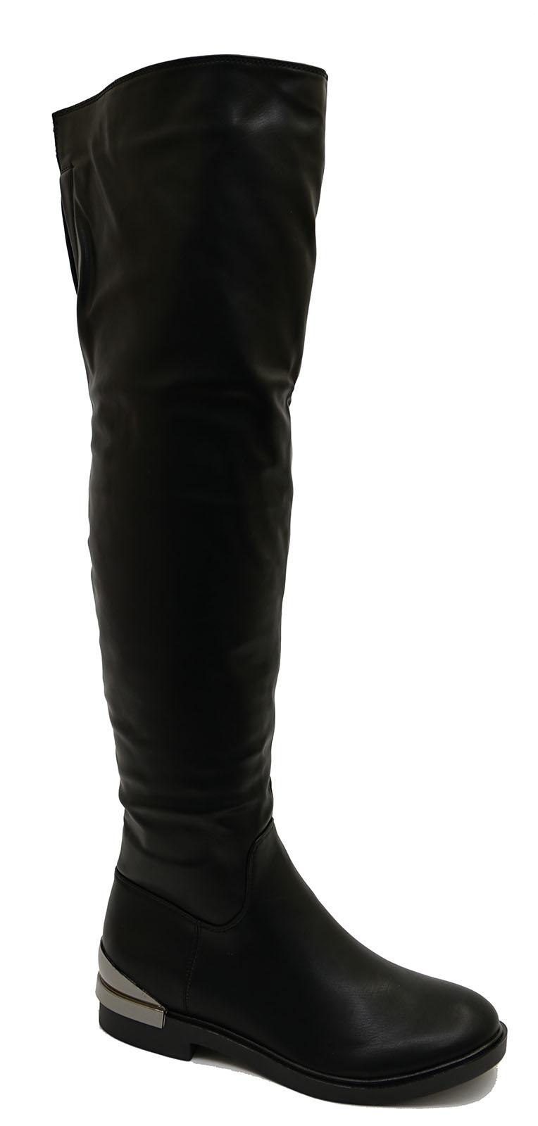 thumbnail 10 - LADIES-BLACK-FLAT-OVER-THE-KNEE-HIGH-TALL-ZIP-UP-RIDING-WORK-BOOTS-SHOES-UK-3-8