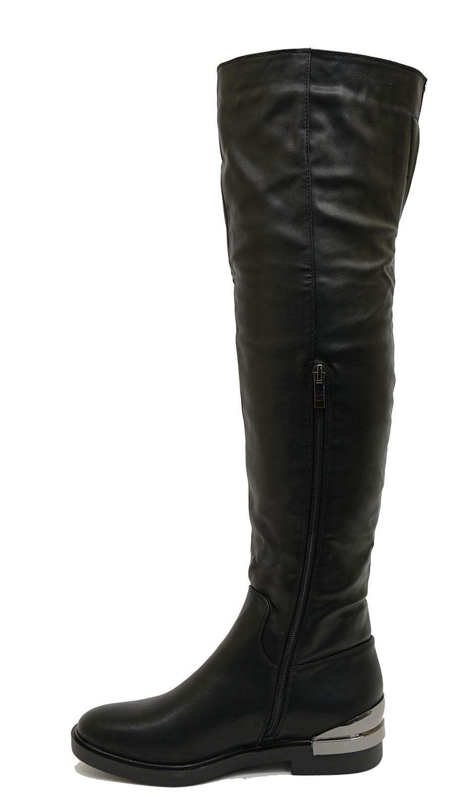 thumbnail 9 - LADIES-BLACK-FLAT-OVER-THE-KNEE-HIGH-TALL-ZIP-UP-RIDING-WORK-BOOTS-SHOES-UK-3-8