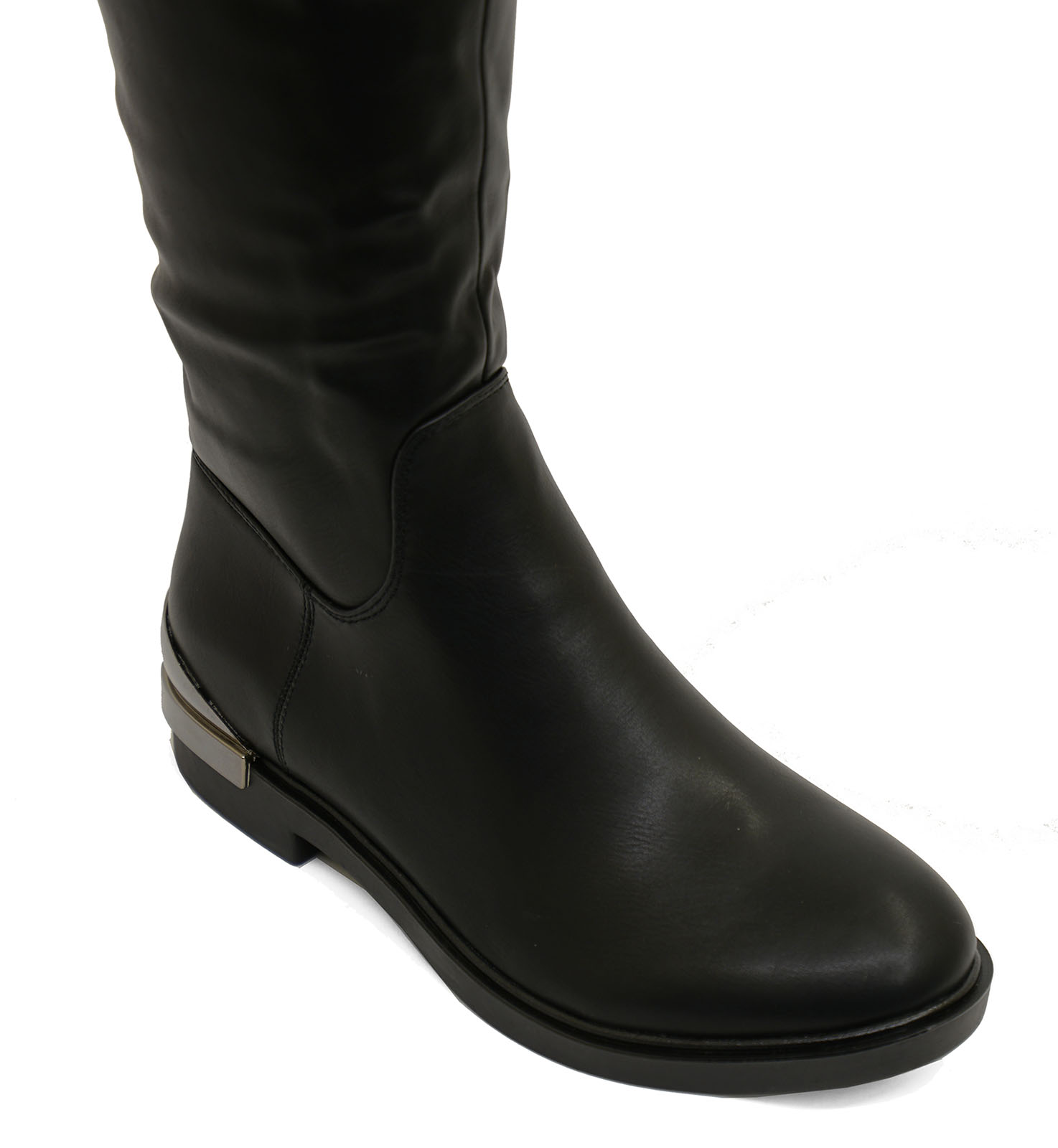 thumbnail 11 - LADIES-BLACK-FLAT-OVER-THE-KNEE-HIGH-TALL-ZIP-UP-RIDING-WORK-BOOTS-SHOES-UK-3-8