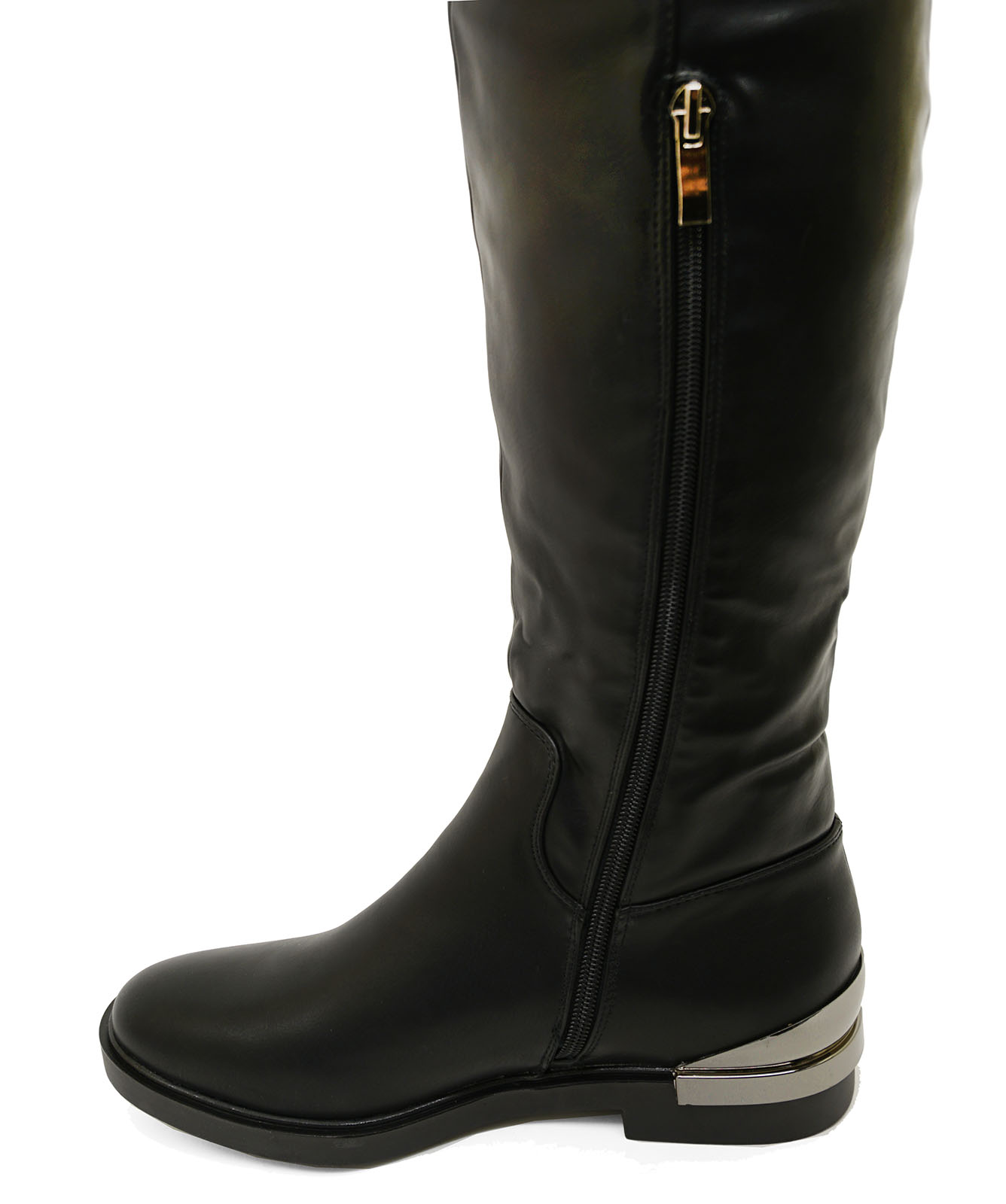 thumbnail 12 - LADIES-BLACK-FLAT-OVER-THE-KNEE-HIGH-TALL-ZIP-UP-RIDING-WORK-BOOTS-SHOES-UK-3-8