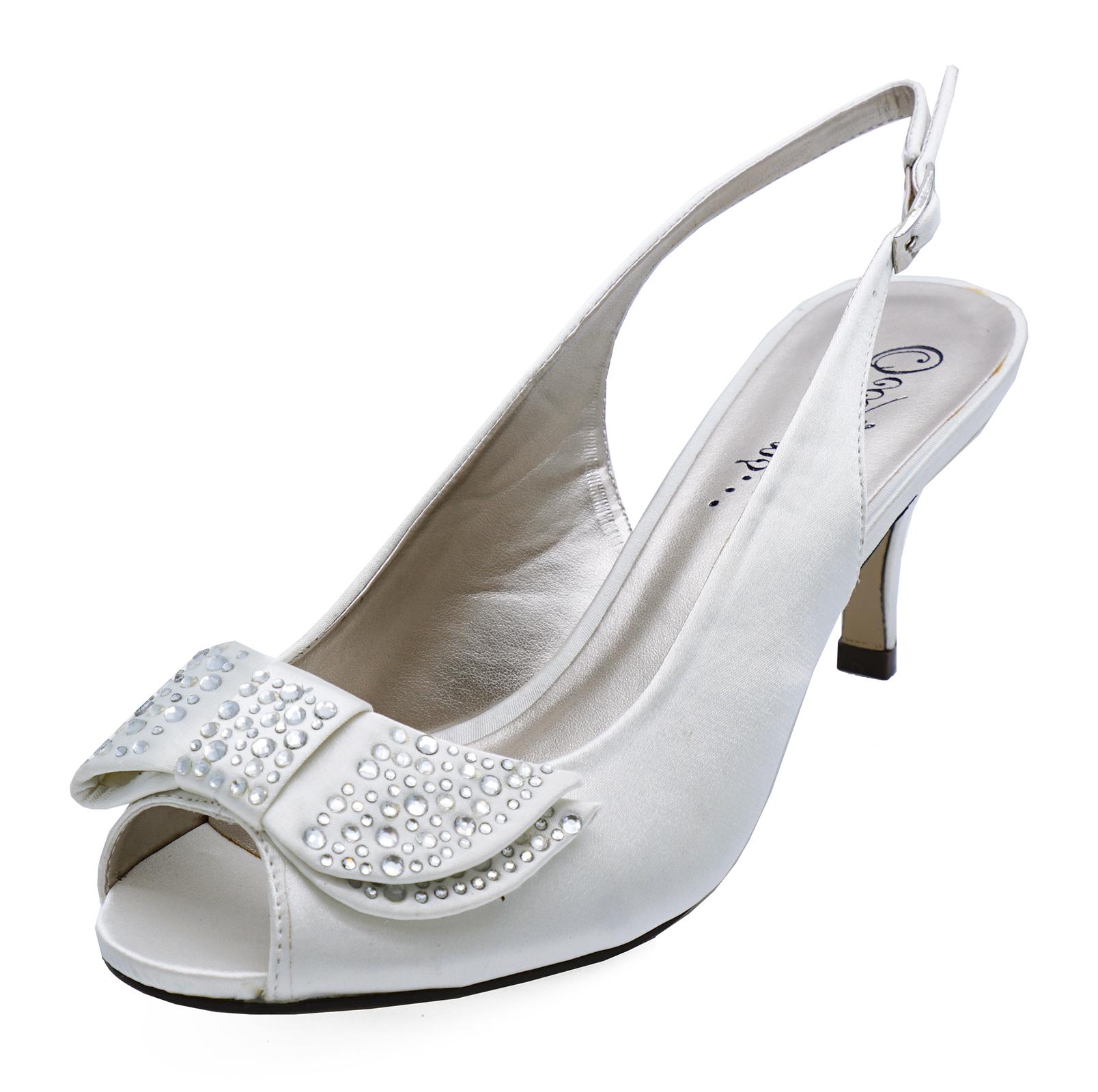 Las Ivory Diamante Low Heel Wedding