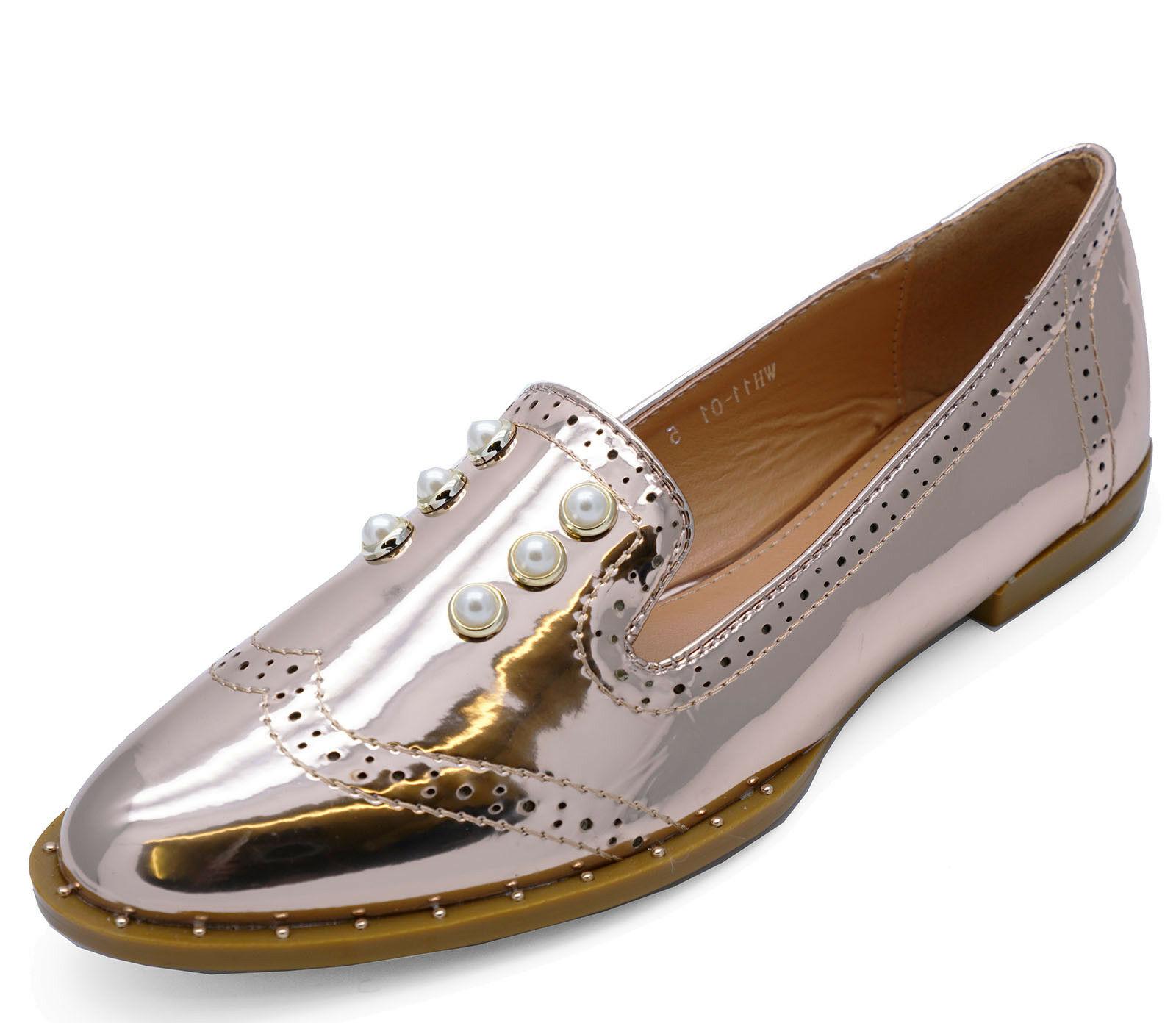 WOMENS ROSE GOLD PATENT FLAT COMFY SLIP-ON LOAFERS SMART TASSLE PUMPS SHOES 3-8