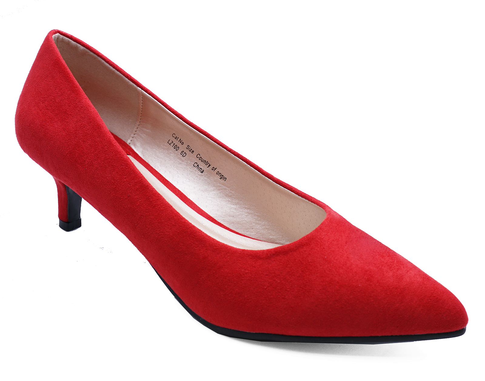 LADIES-RED-SLIP-ON-KITTEN-LOW-HEEL-SMART-WORK-CASUAL-COMFY-COURT-SHOES-SIZES-3-9 thumbnail 6