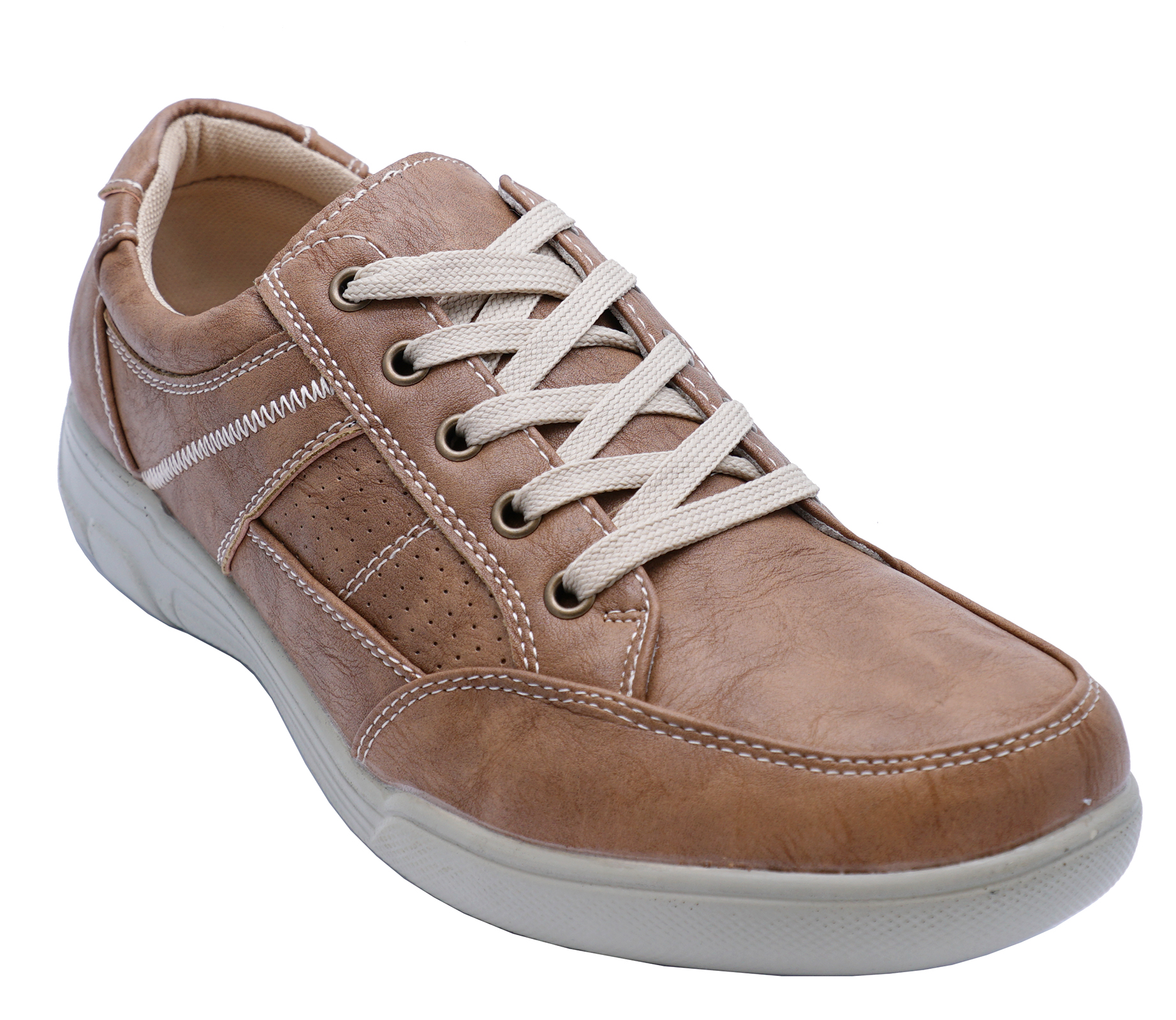 thumbnail 5 - MENS-TAN-LACE-UP-COMFY-LIGHTWEIGHT-SMART-CASUAL-WALKING-TRAINER-SHOES-UK-6-12