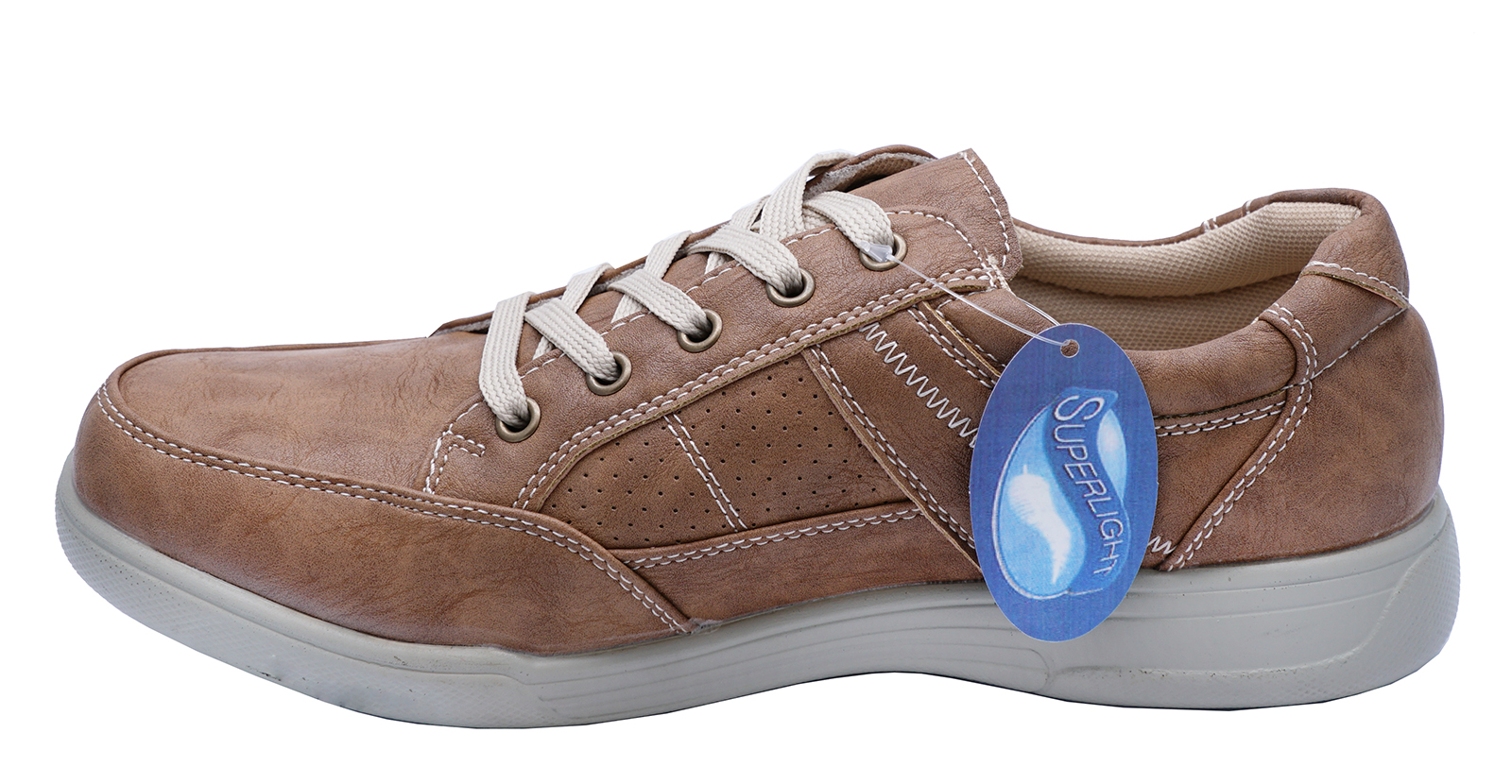 thumbnail 6 - MENS-TAN-LACE-UP-COMFY-LIGHTWEIGHT-SMART-CASUAL-WALKING-TRAINER-SHOES-UK-6-12