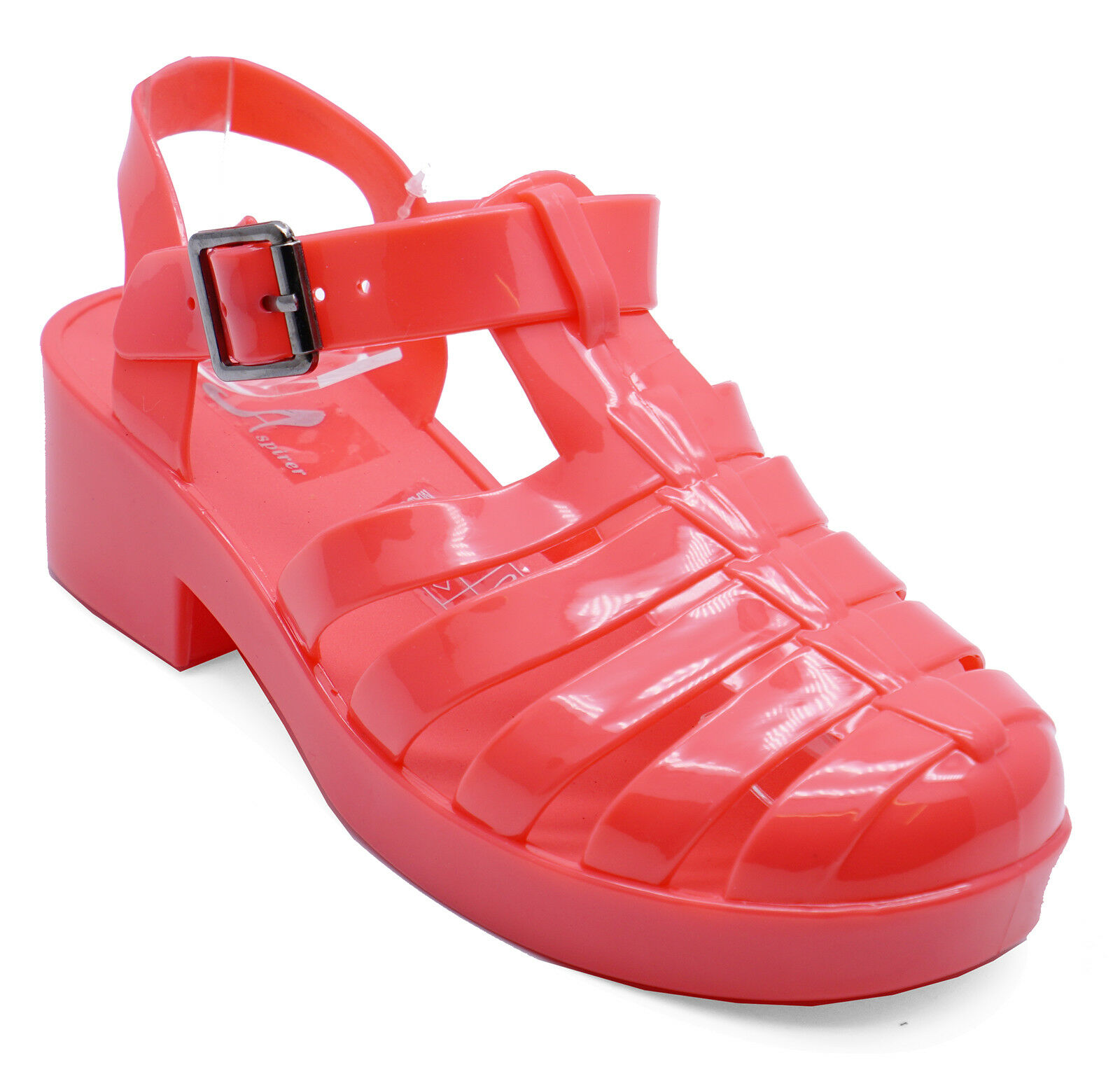 GIRLS JUNIOR WHITE LOW-HEEL HOLIDAY SUMMER JELLY SANDALS SHOES SIZES 11-3