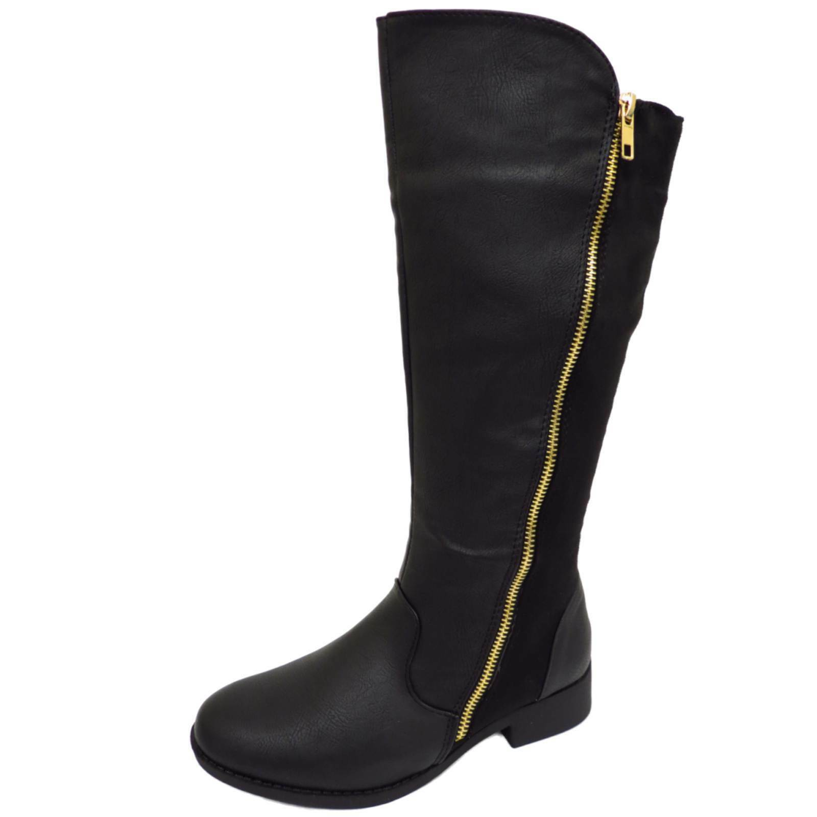WOMENS LADIES KNEE HIGH FLAT WINTER RIDING MID CALF BUCKLE ZIP BOOTS UK SIZE 3-8