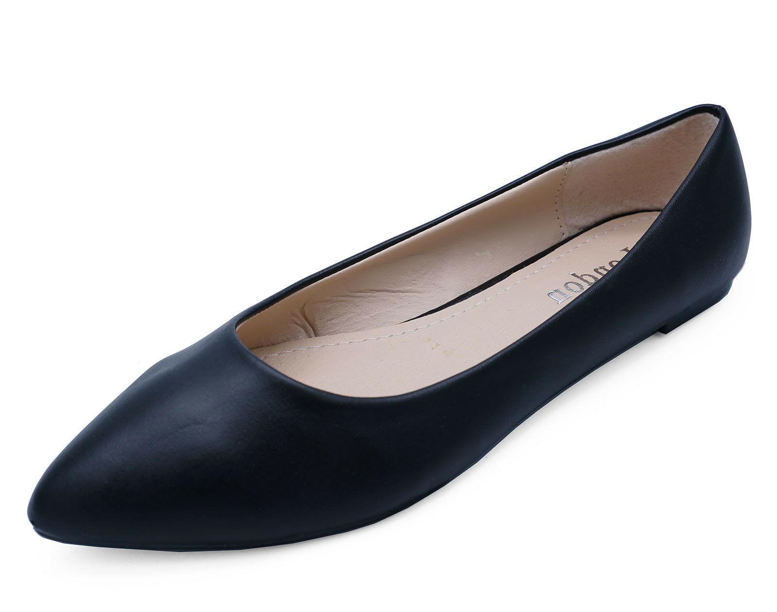 WOMENS BLACK SLIP-ON WORK FLAT SHOES