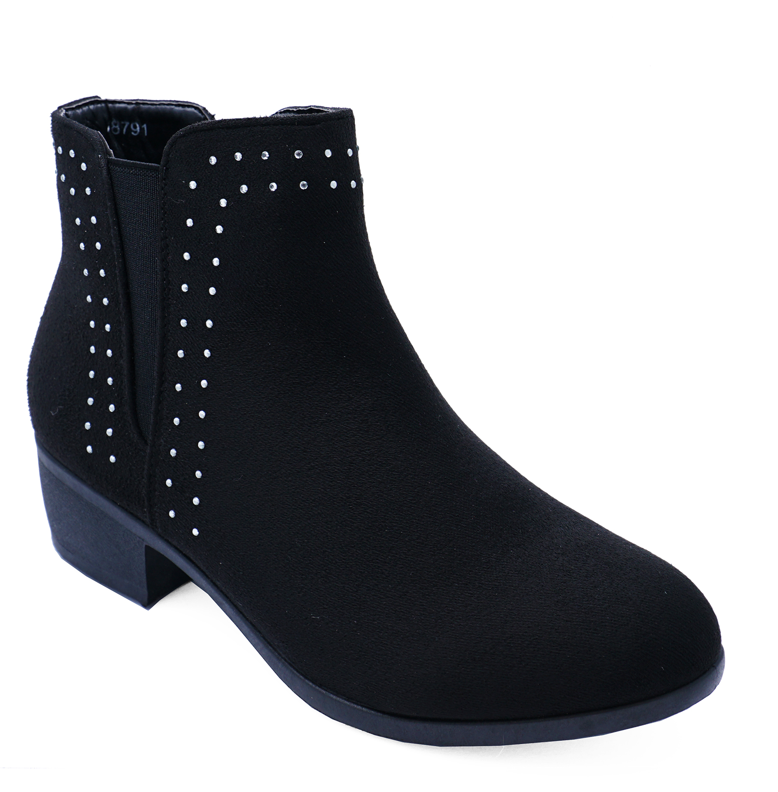 LADIES-WOMENS-LOW-BLOCK-HEEL-ANKLE-STUDDED-DIAMANTE-CHELSEA-BOOTS-SHOES-SIZE-3-8 thumbnail 6