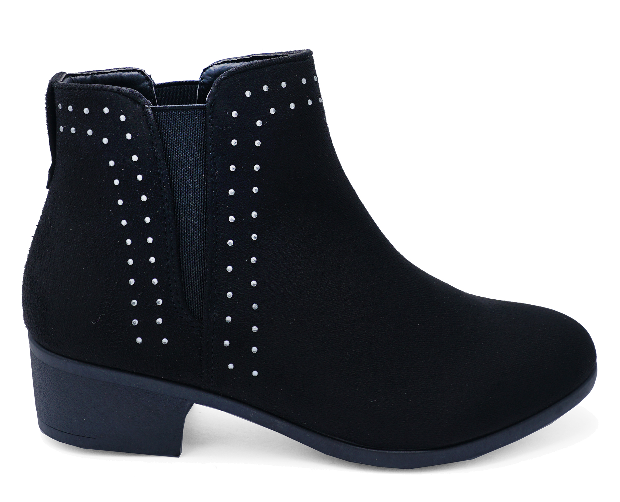 LADIES-WOMENS-LOW-BLOCK-HEEL-ANKLE-STUDDED-DIAMANTE-CHELSEA-BOOTS-SHOES-SIZE-3-8 thumbnail 5