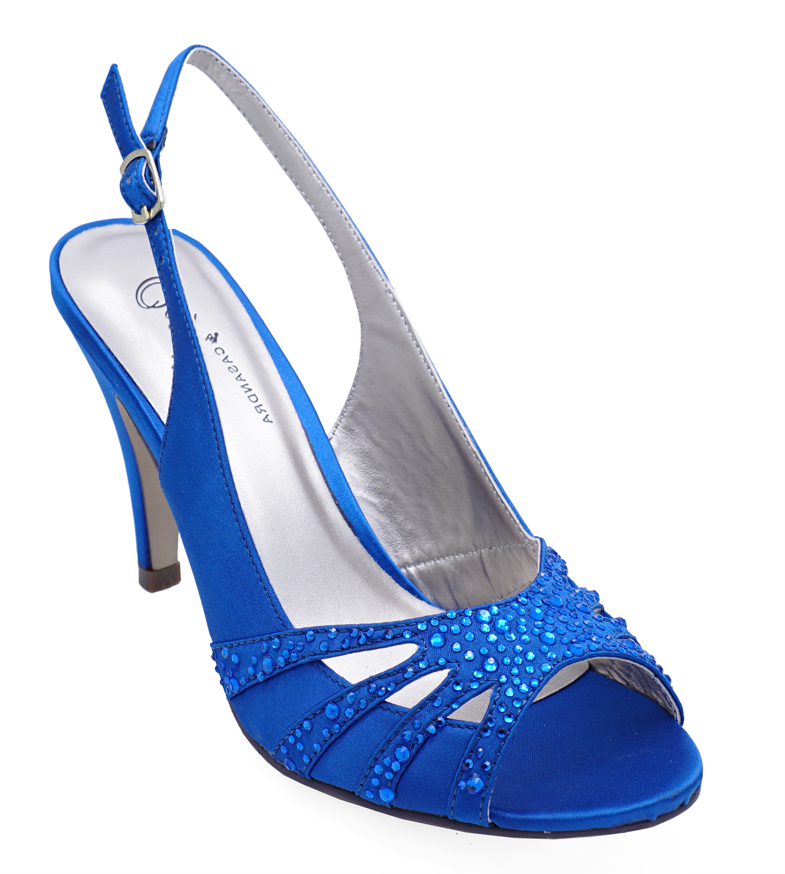 30d6caf35e957 Details about LADIES BLUE OPEN-TOE SLINGBACK DIAMANTE WEDDING EVENING PARTY  PROM SHOES UK 3-8