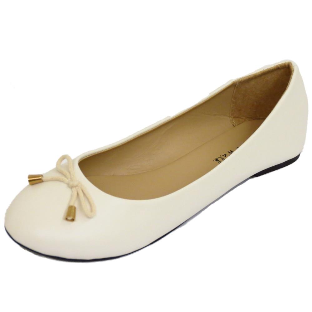 LADIES FLAT OFF-WHITE SLIP-ON WORK