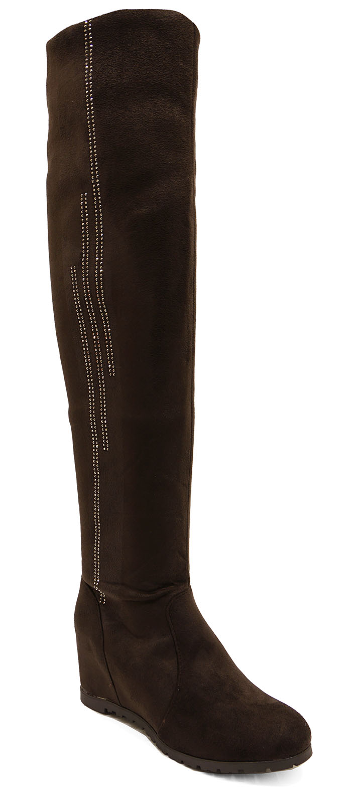 LADIES-BROWN-SOFT-STRETCH-OVER-THE-KNEE-HIGH-RUCHED-WEDGE-BOOTS-SHOES-UK-3-8 thumbnail 7
