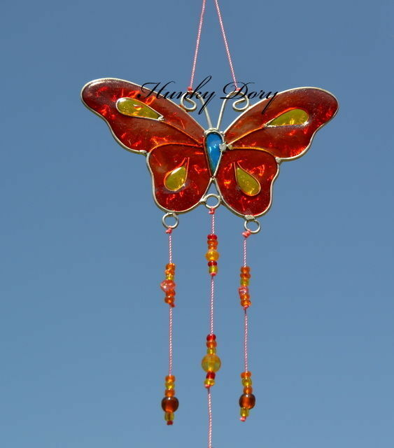 Stained Glass Effect Triple BUTTERFLY Hanging Sun Catcher Mobile Windchime DECOR