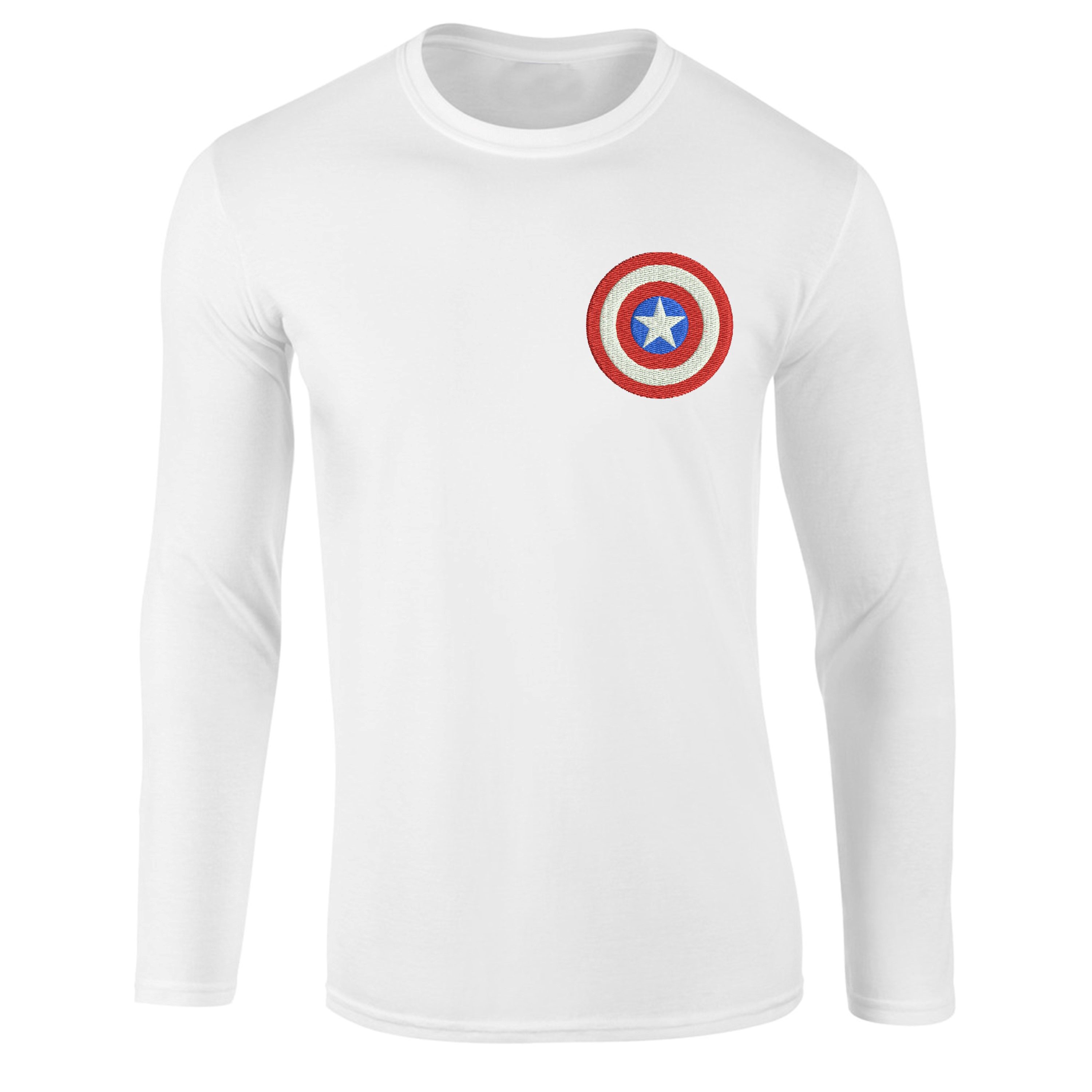 Captain-America-Logo-T-shirt-Superhero-Marvel-Comics-Embroidered-Longsleeve-Top miniature 5
