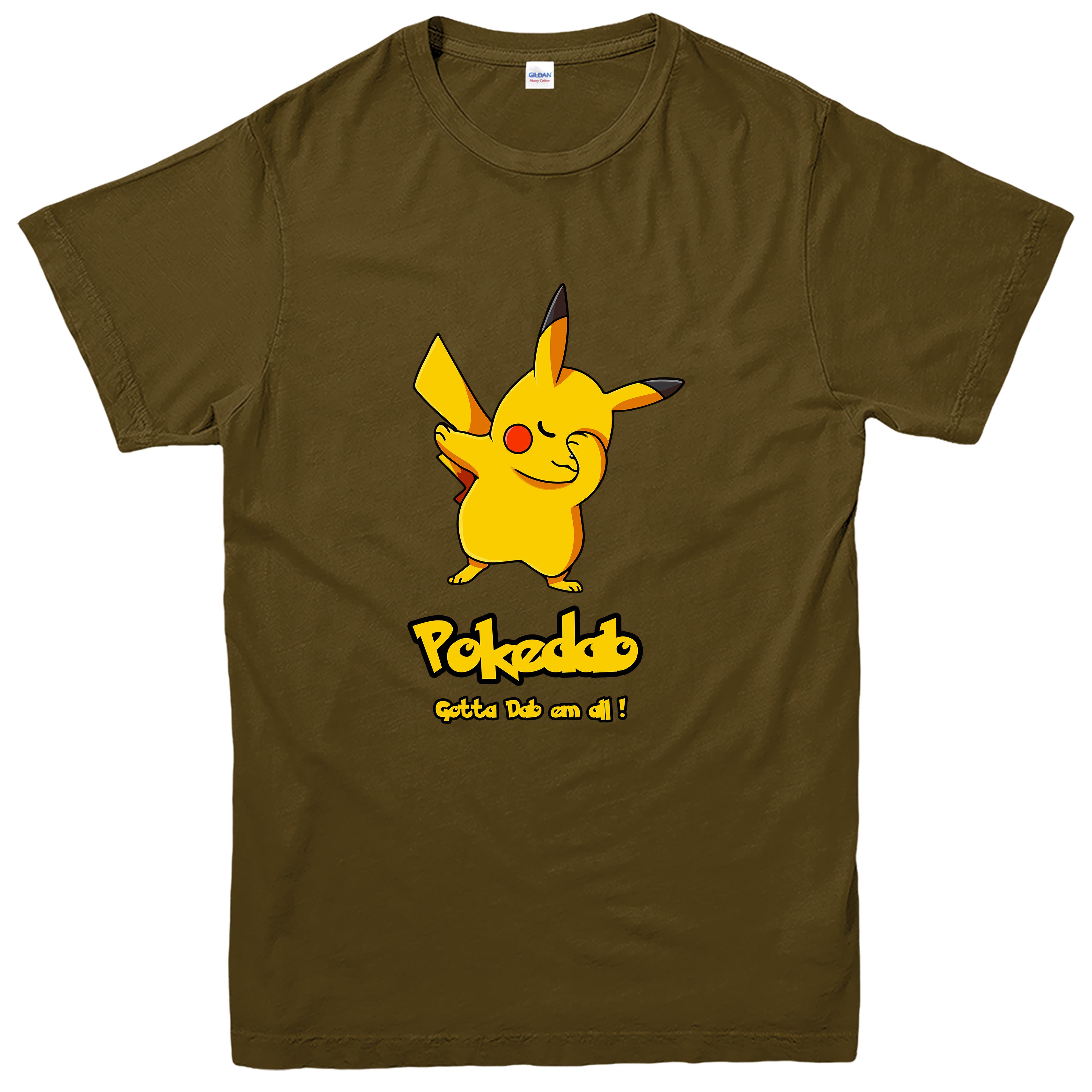 Top Pokedab T-shirt, Pikachu Pokemon Dab em all Spoof Tee Top | eBay DZ76