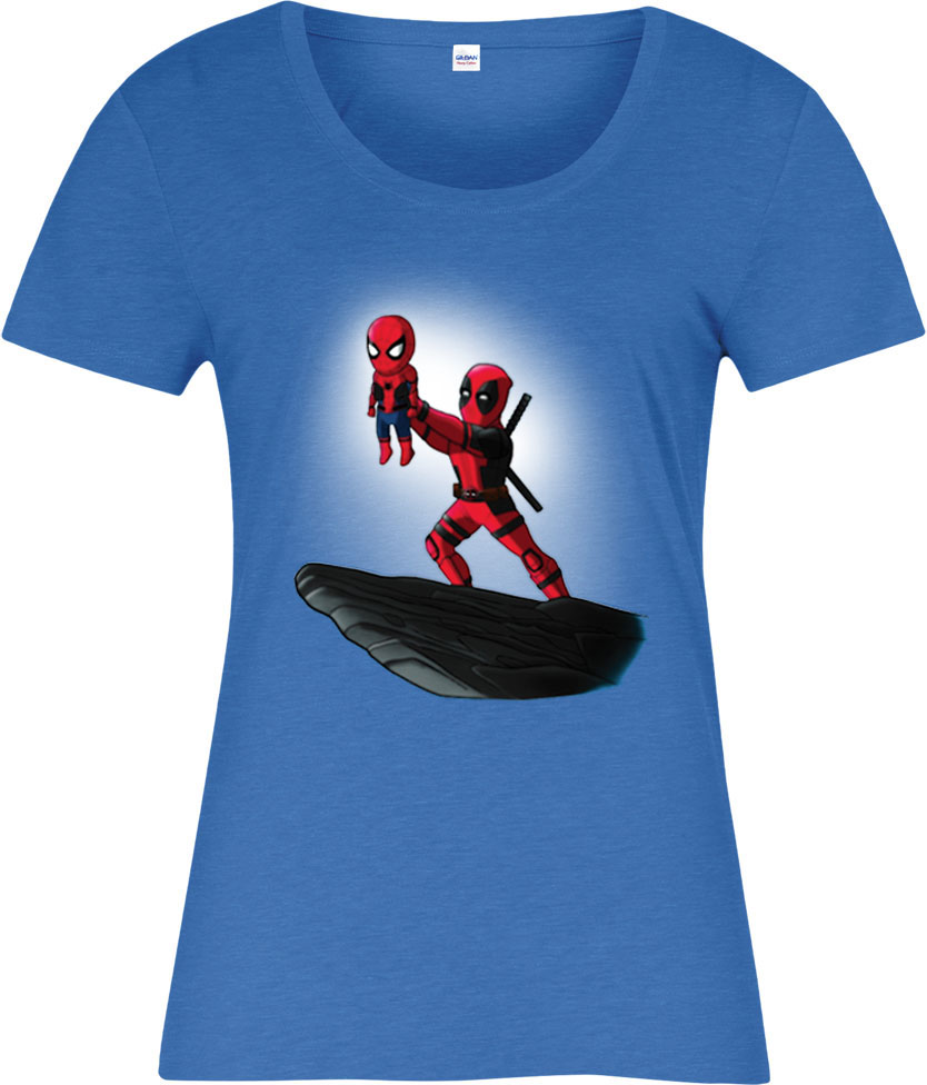 deadpool ladies t shirt spiderman lion king spoof marvel comics ebay. Black Bedroom Furniture Sets. Home Design Ideas
