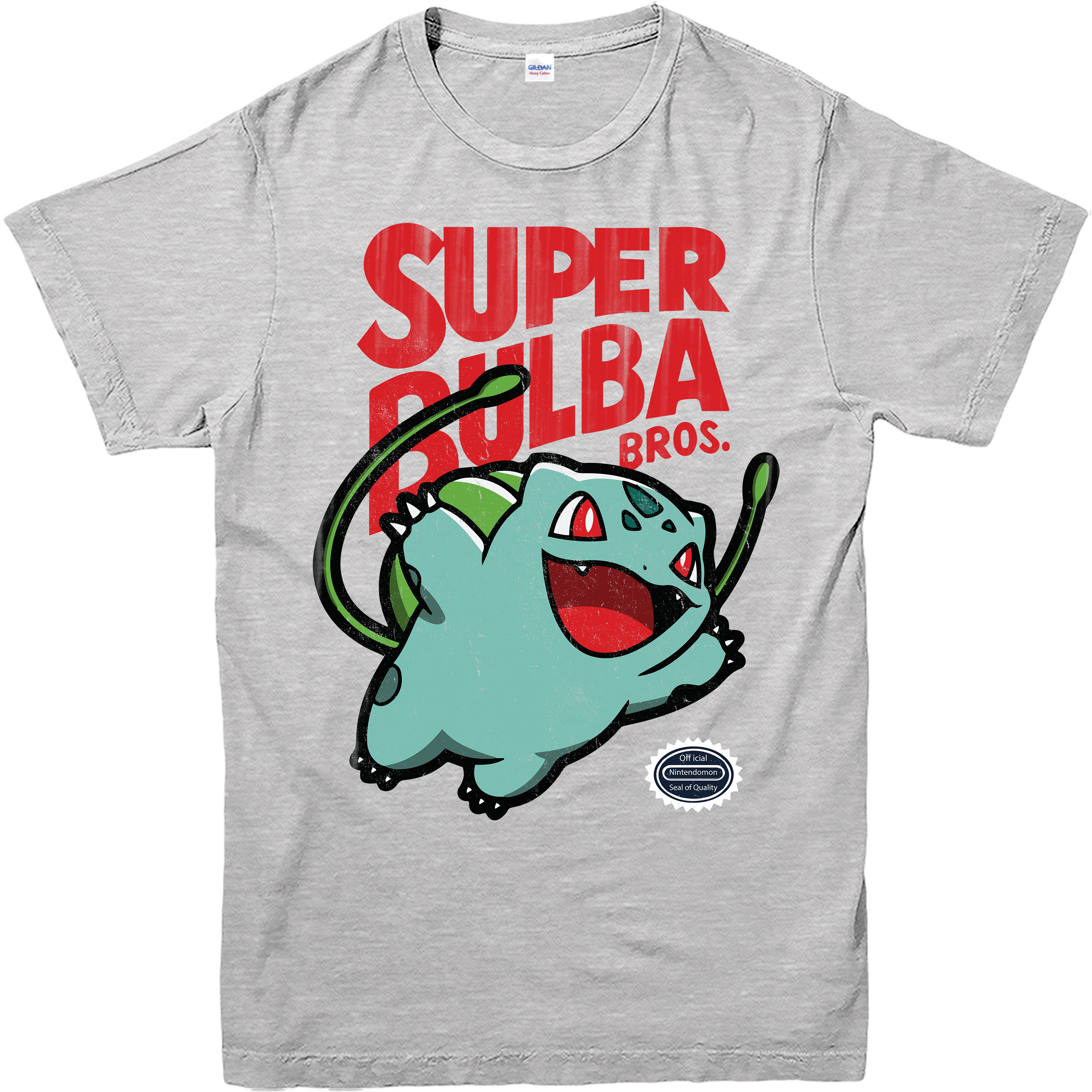 Pokemon T Shirt Casual Wear Super Bulba Mario Bros Spoof Adult and