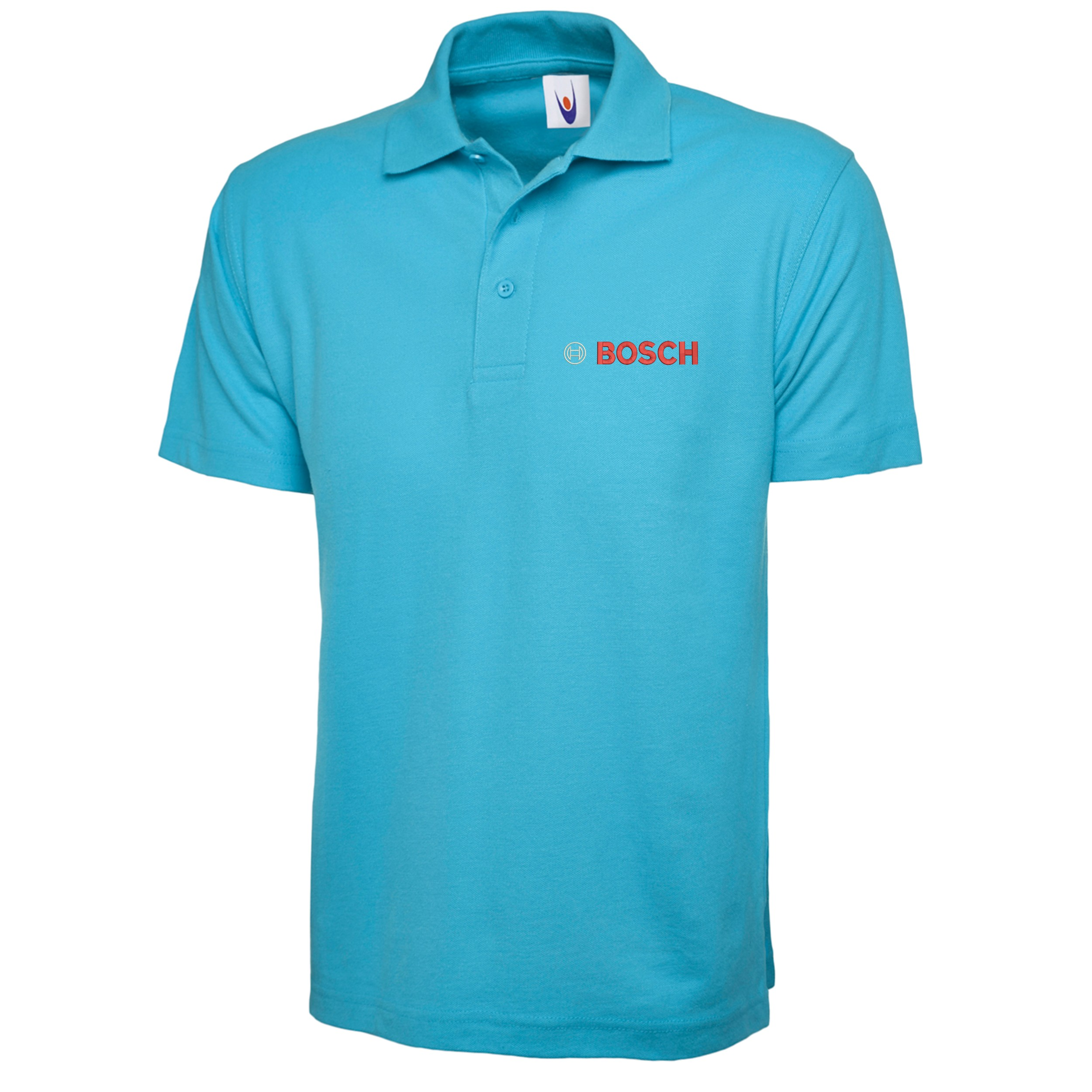 Embroidered bosch logo polo shirt workwear uniform for Embroidered logos on shirts