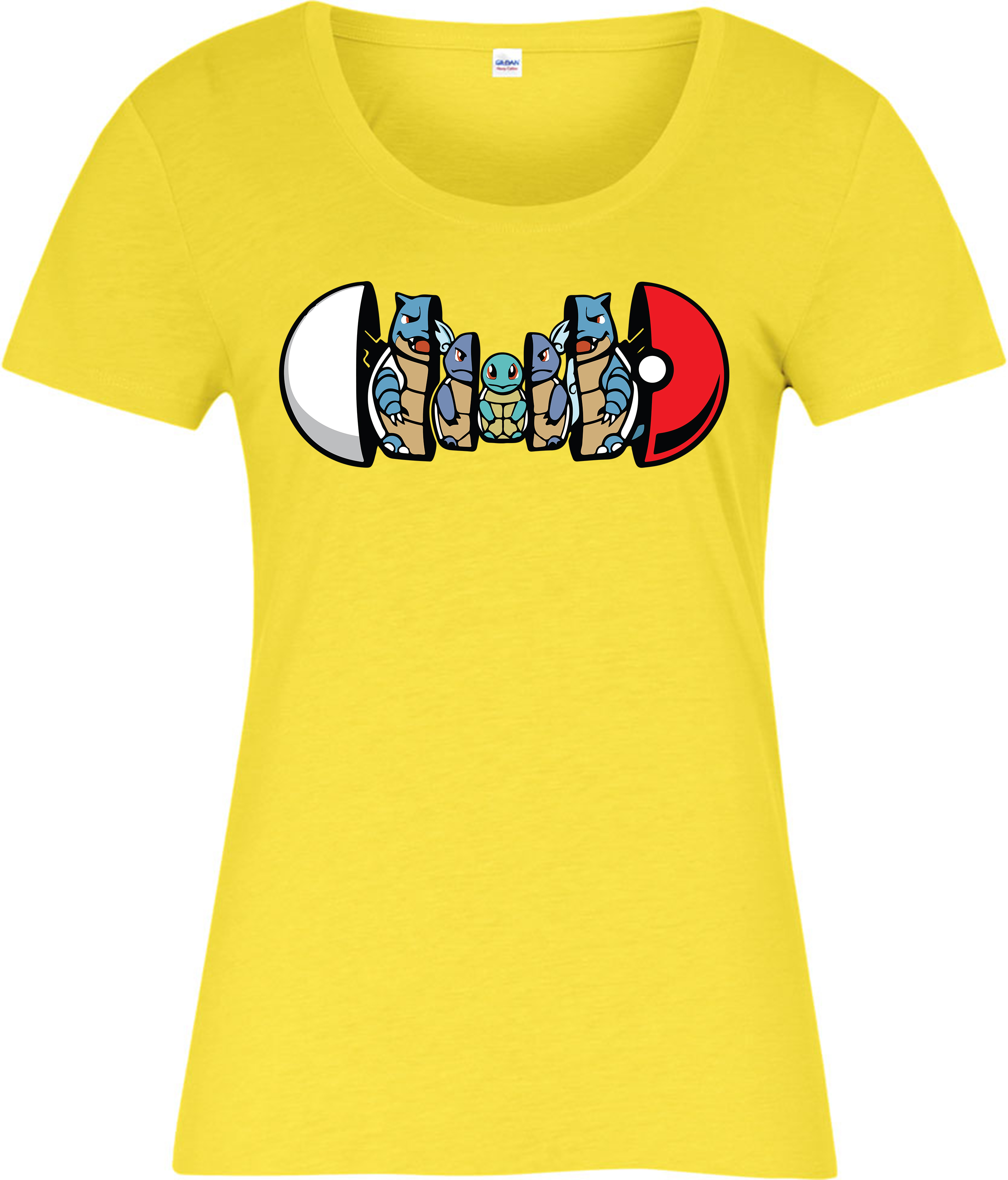 Pokemon La s T shirt Squirtle Forms Pokeball Spoof Yellow 2xl