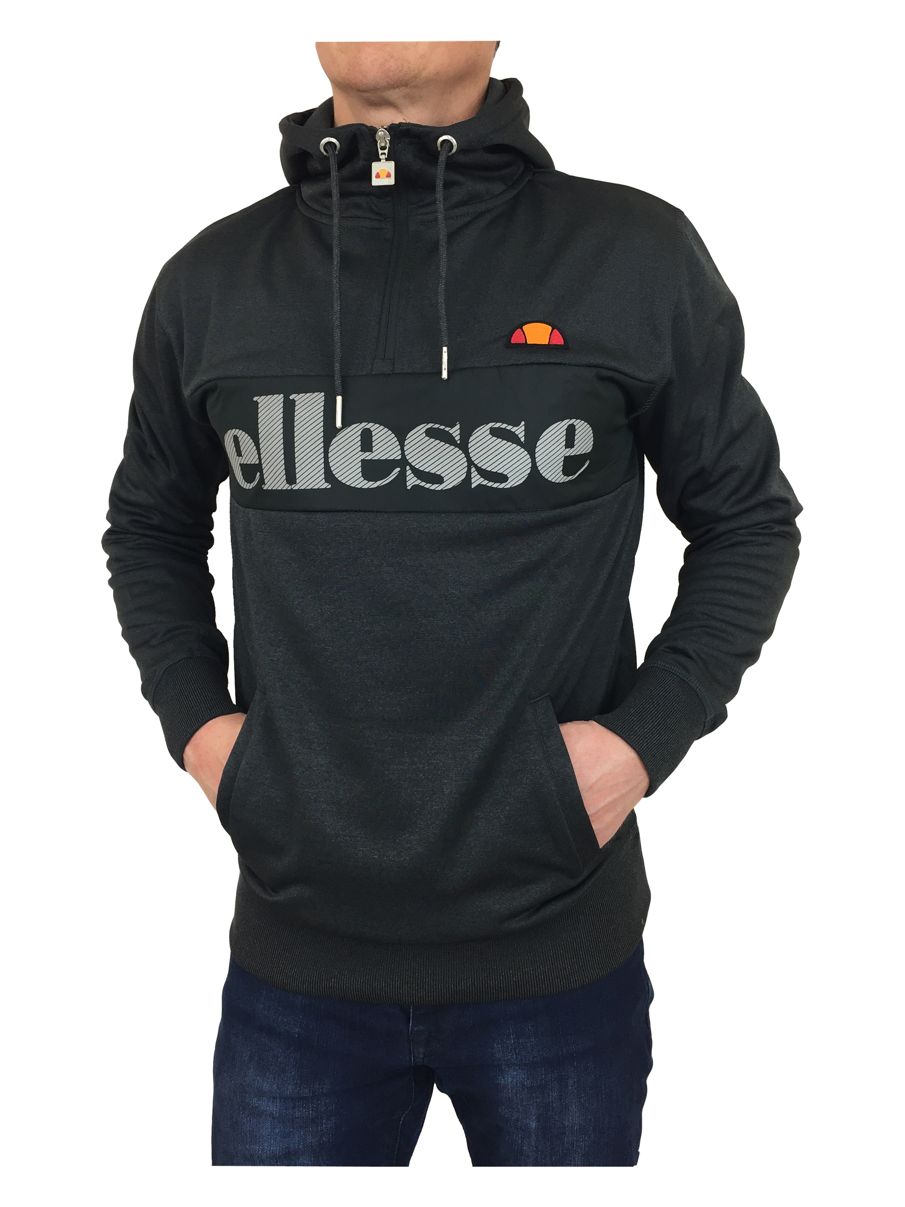 ellesse mens emiro hooded track top hoodie in graphite marl ebay. Black Bedroom Furniture Sets. Home Design Ideas