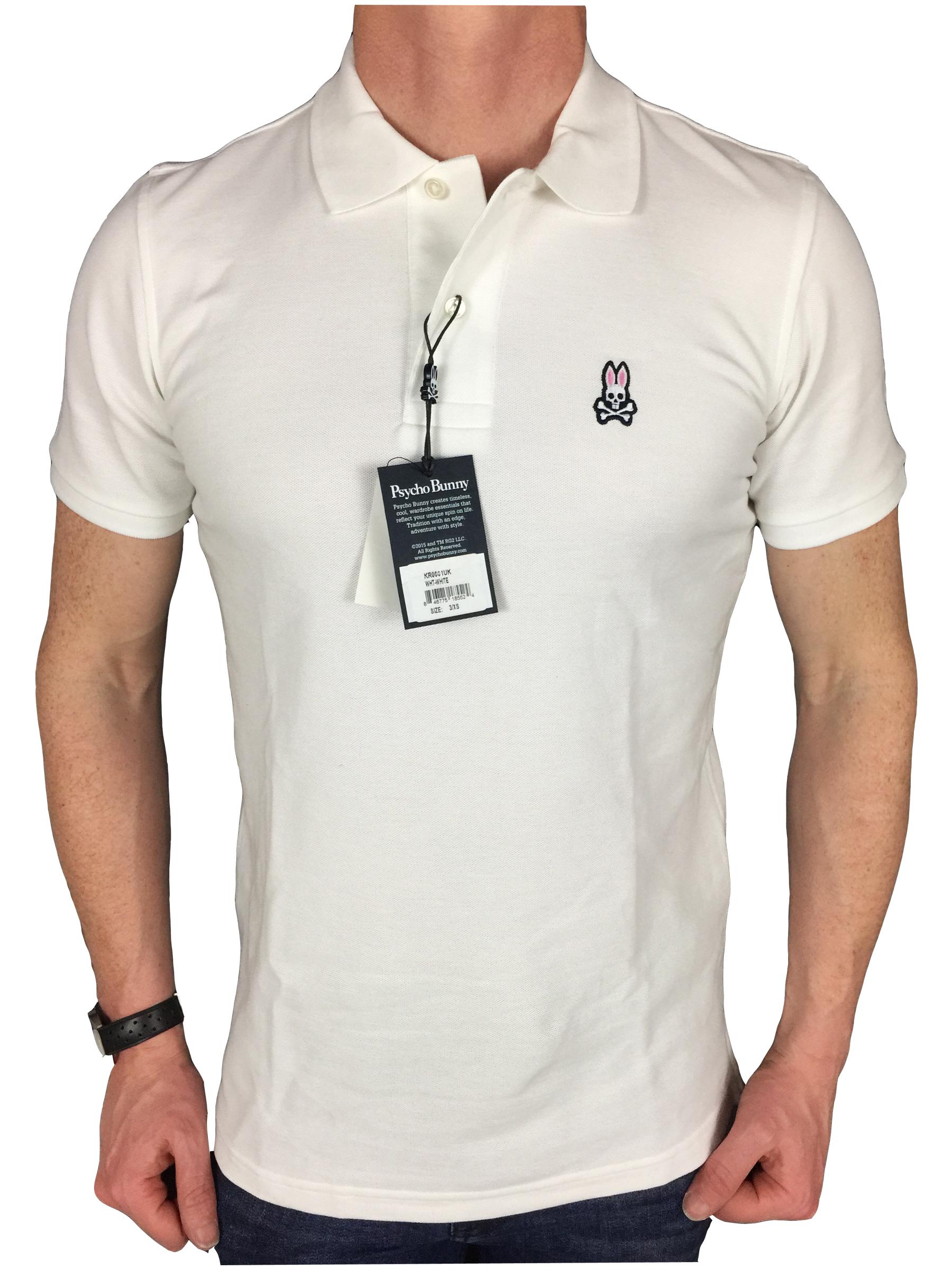Psycho Bunny Mens S/S Logo Branded Polo Shirt in White | eBay