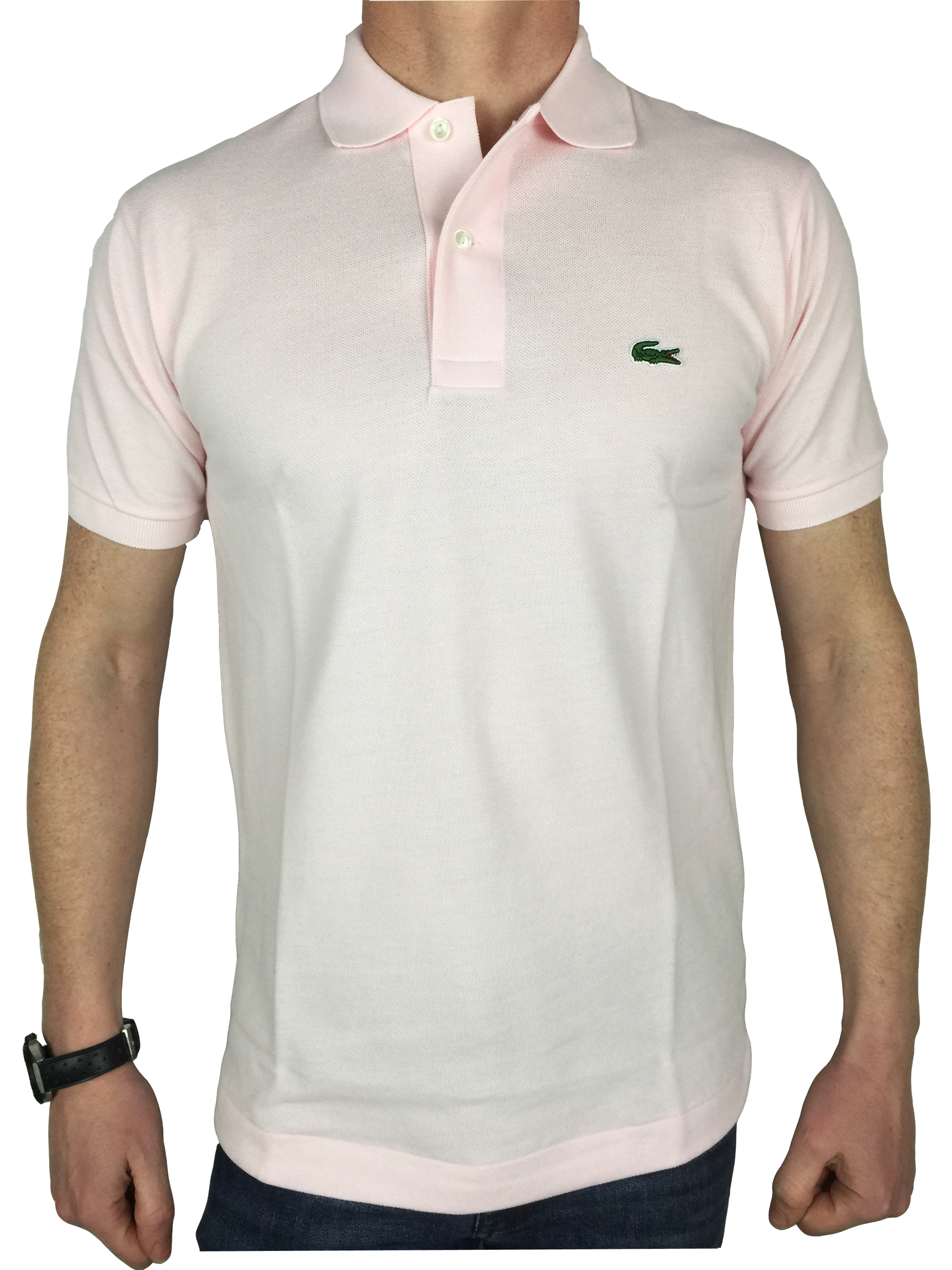 Lacoste mens s s logo branded polo shirt in flamingo pink for Mens branded polo shirts