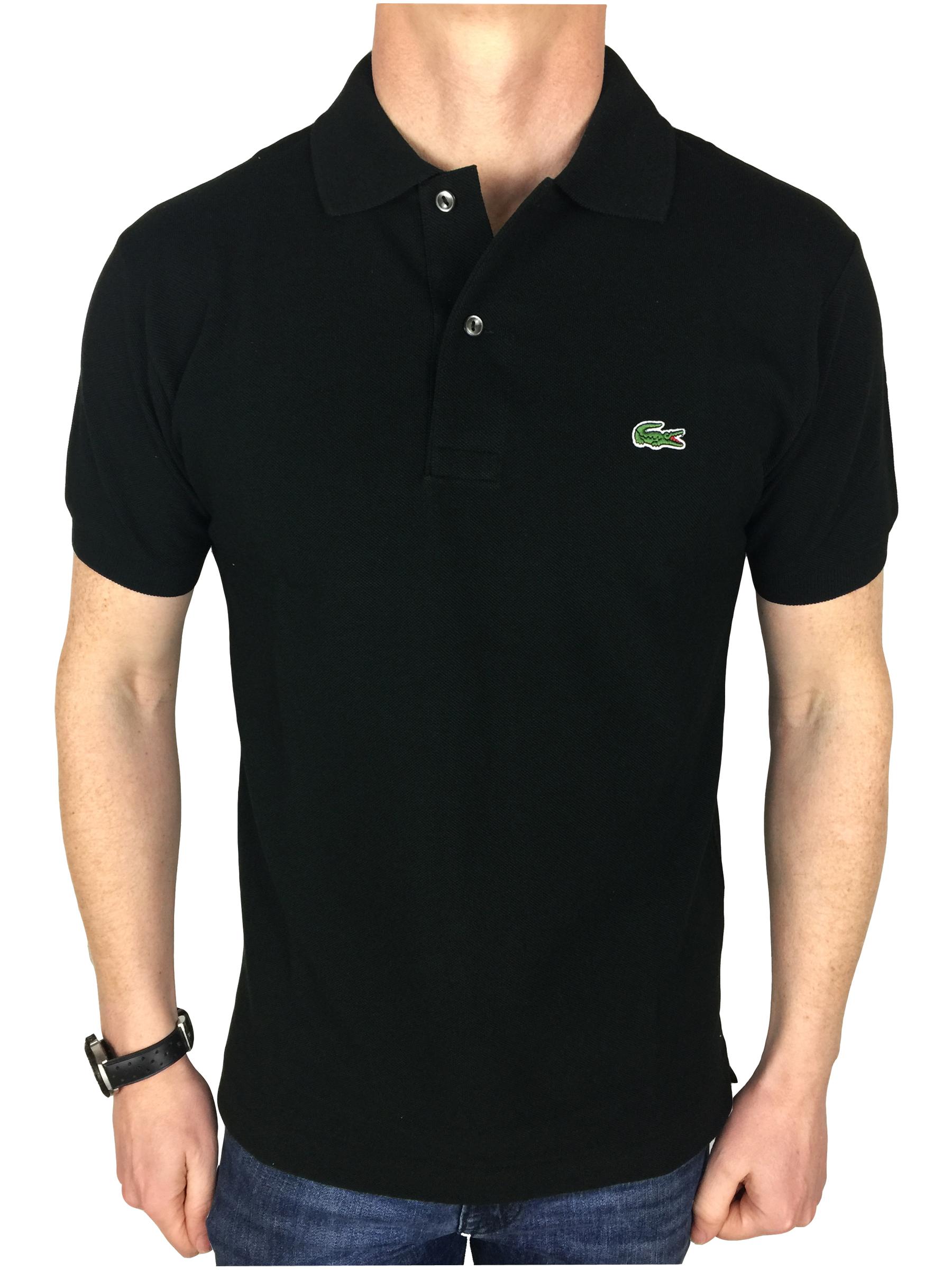 Lacoste Mens S S Logo Branded Polo Shirt In Black Ebay