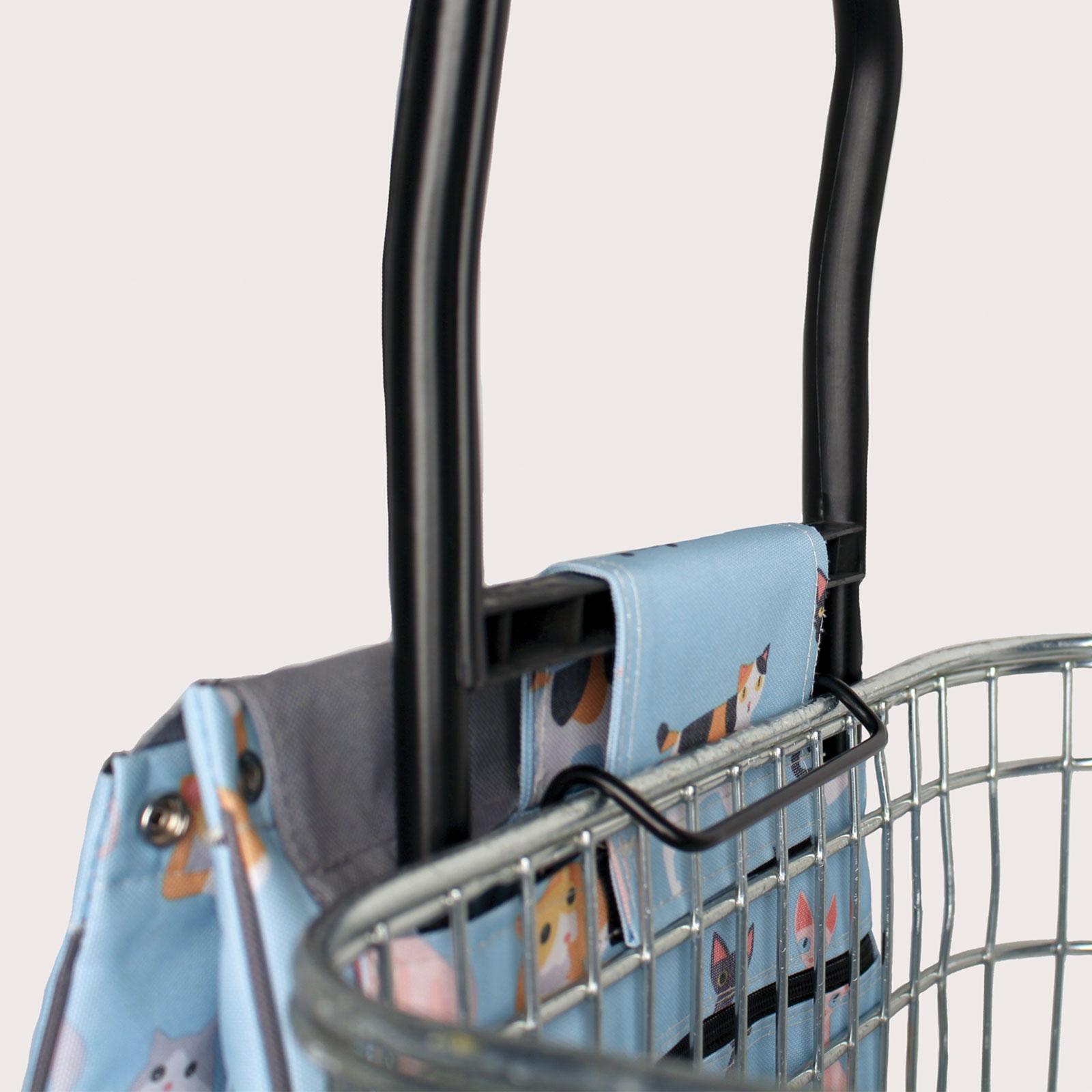 Sabichi 2 Wheel Shopping Trolley Crazy Cats Lemongrass Pug Design