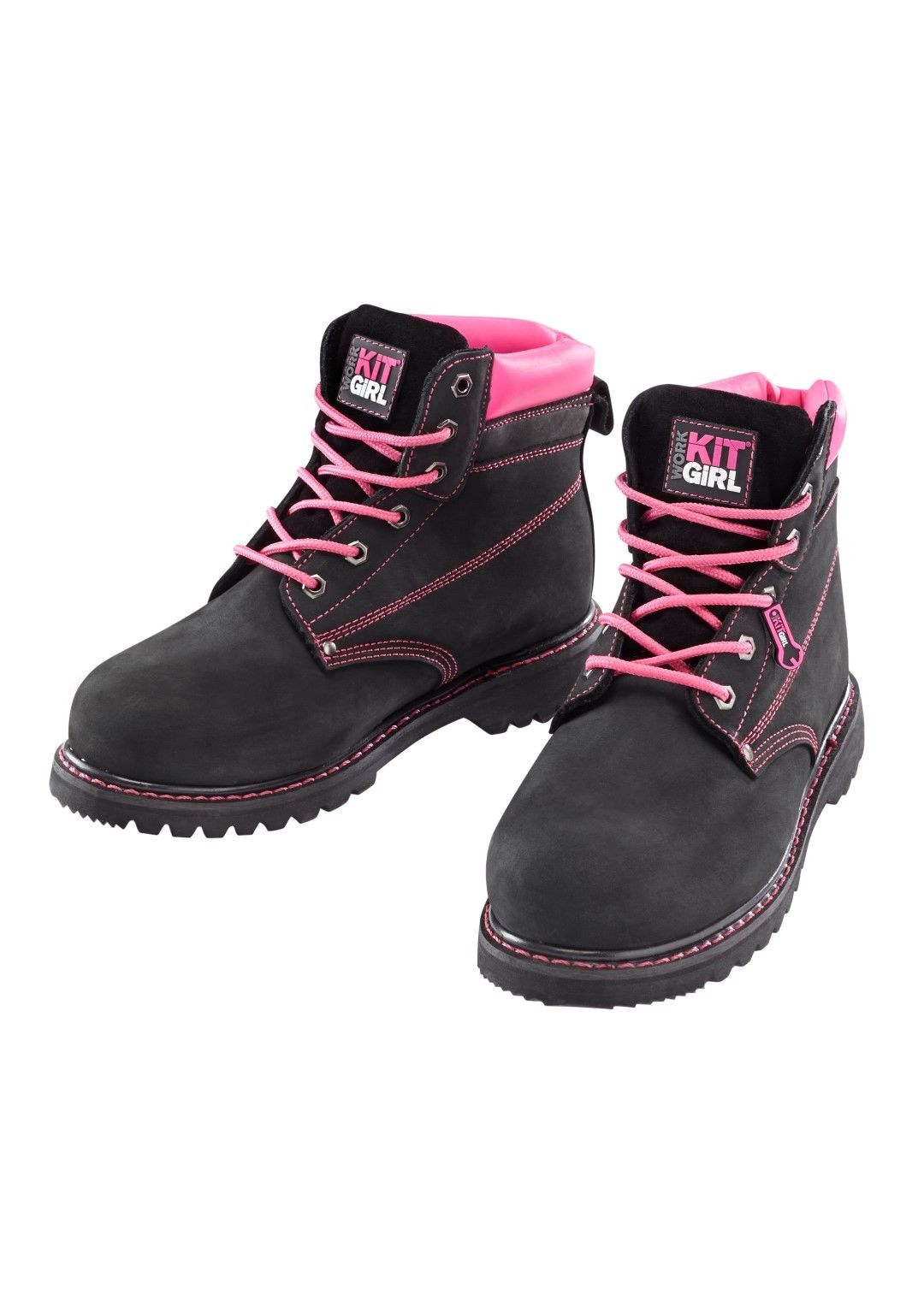 25fd228e86e Details about Work Kit Girl - Steel Toe Work Boots - Black - Ladies Steel  To Caps