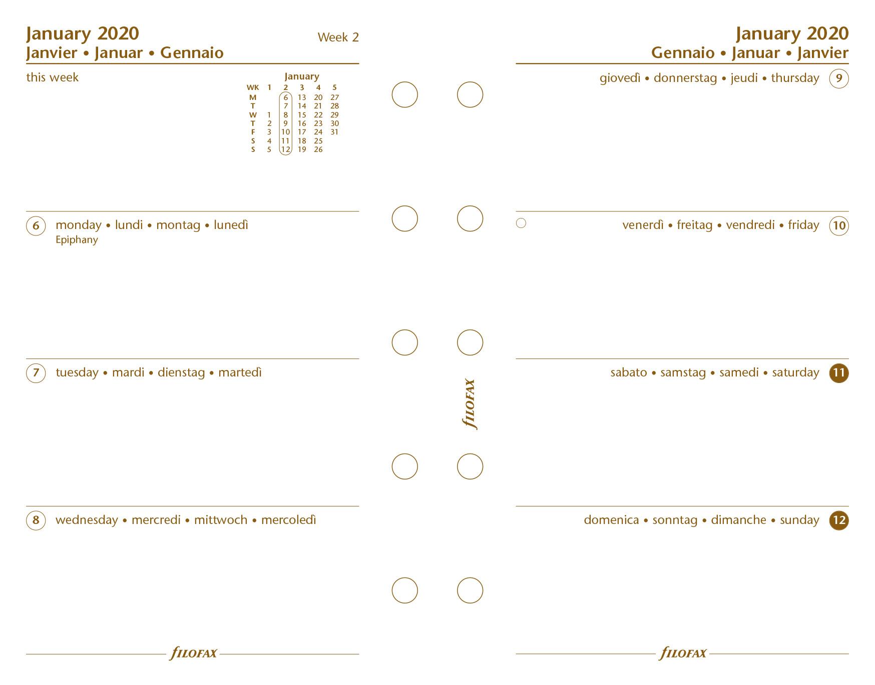 Filofax Mini Woche Zwei Seiten 4 Language Baumwolle Creme 2020 Tagebuch