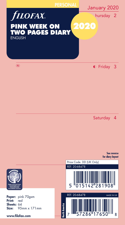 eine Woche pro Seite Englisch 2021 Tagebuch Taschenkalender Filofax