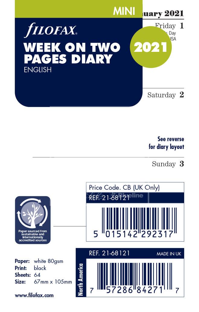 Filofax Agenda 2021 con settimana personale su due pagine