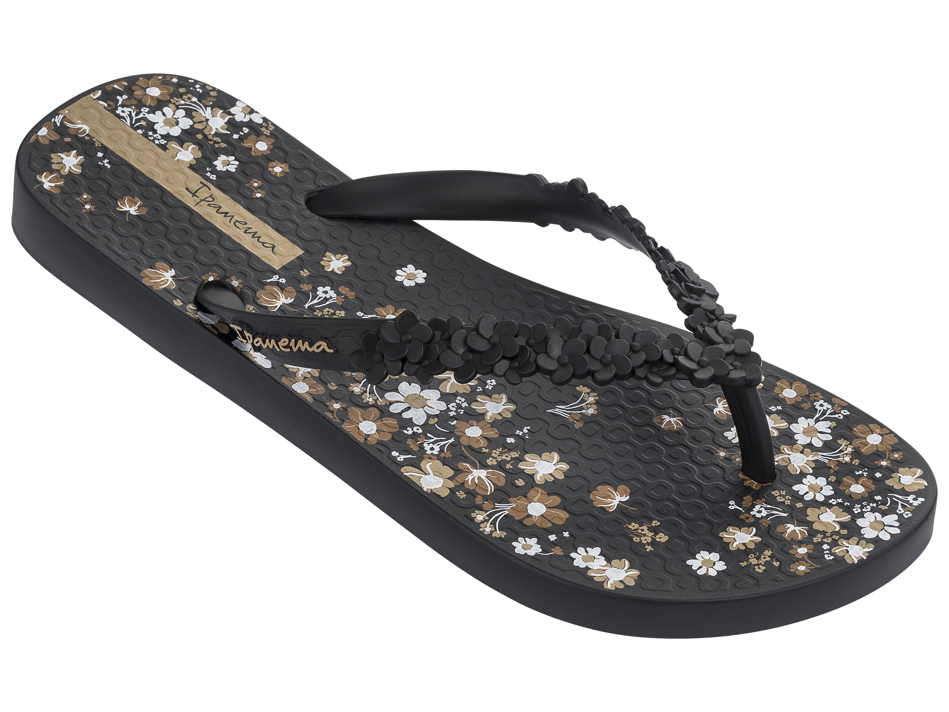 ed44b1a7508 Details about Ipanema Ladies Fashion Floral Flip Flops - Black