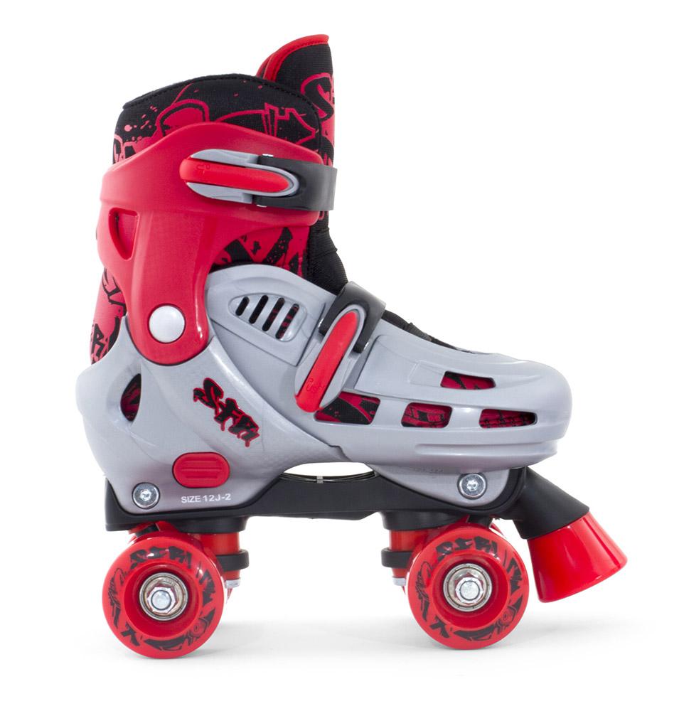 SFR Hurricane II Adjustable Quad Roller Skates Grey//Red Boys With Optional Bag